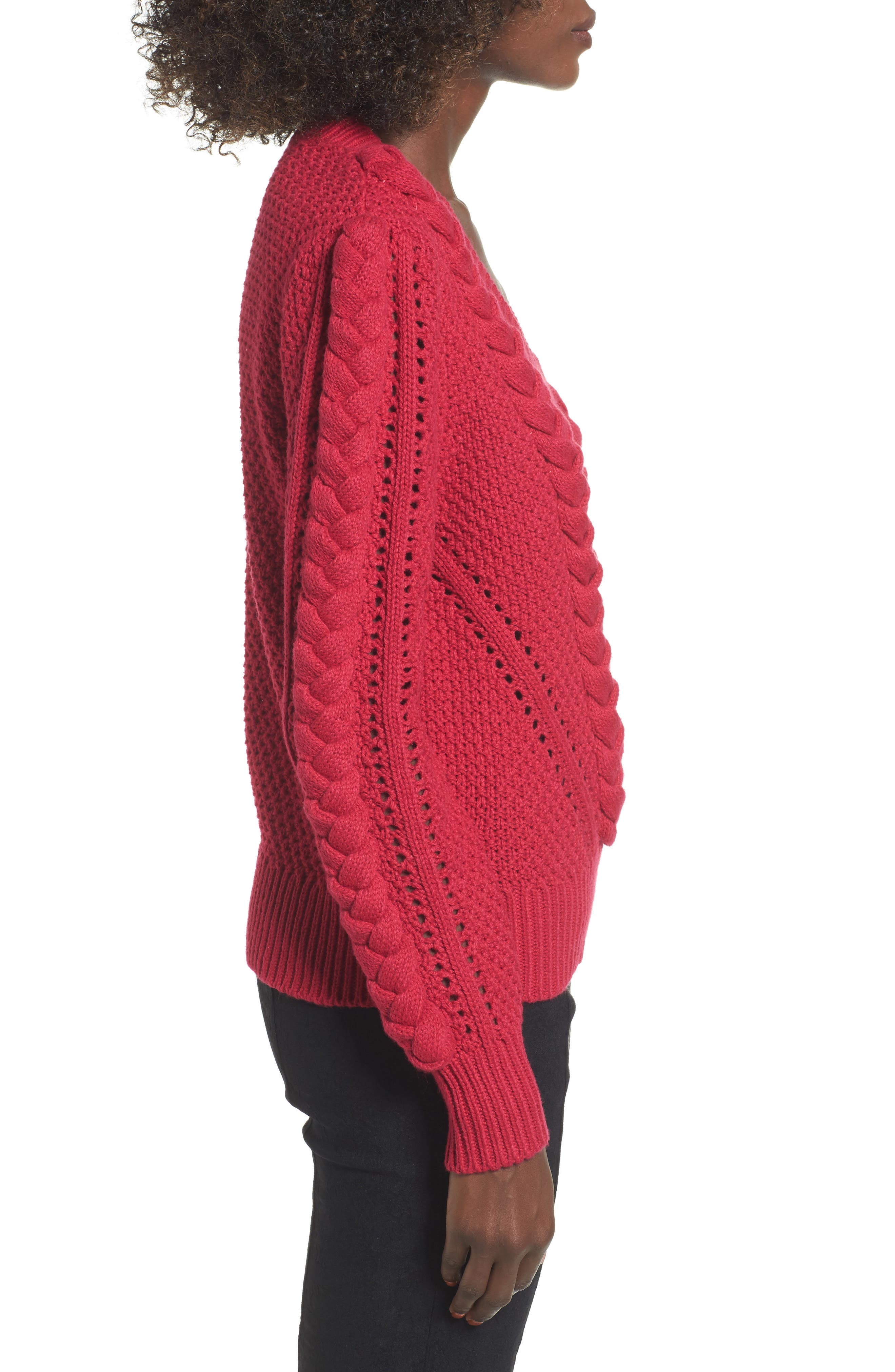 Power Cable Sweater,                             Alternate thumbnail 3, color,                             Red Cerise
