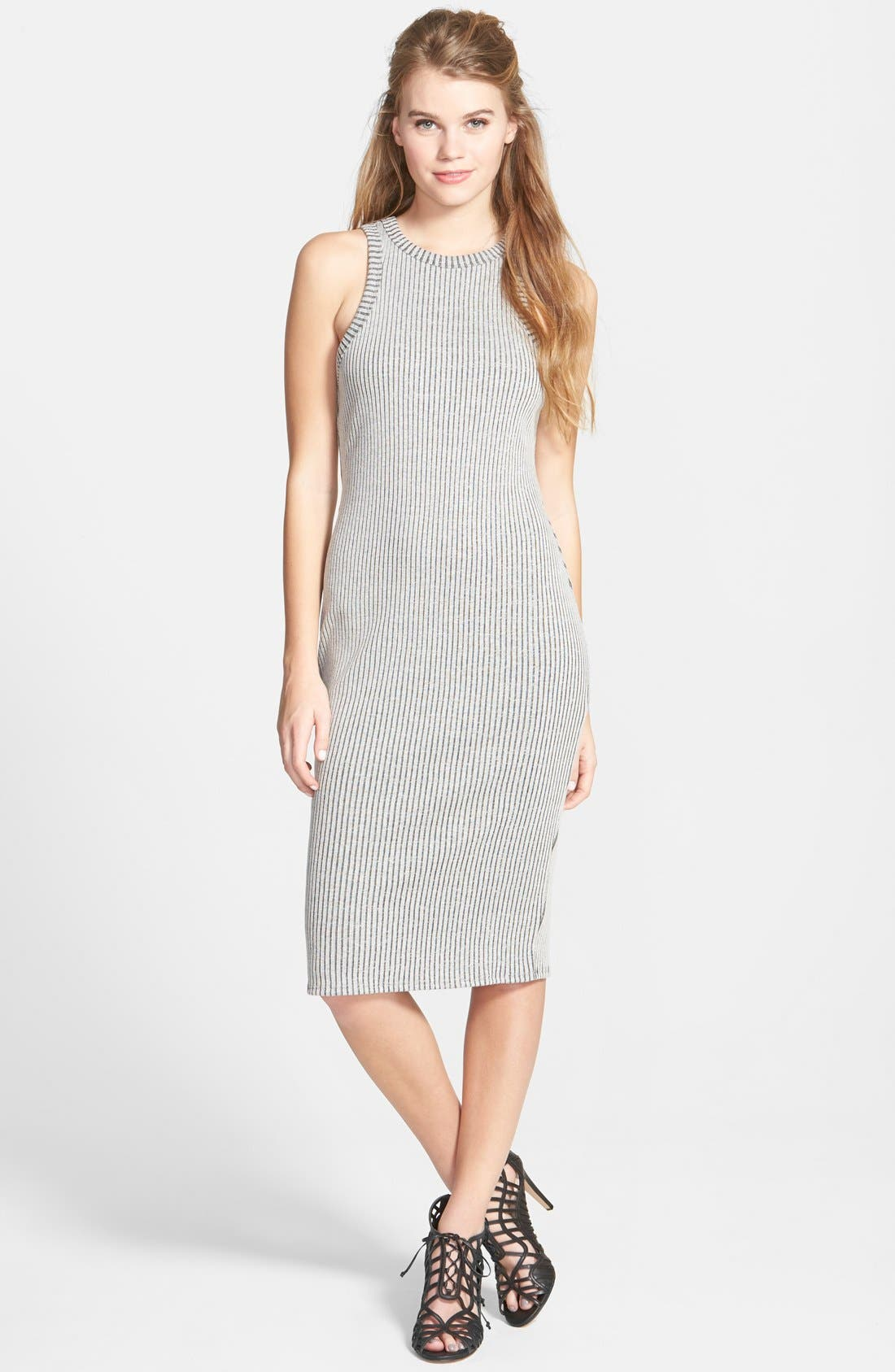 Main Image - One Clothing Rib Knit Body-Con Midi Dress (Juniors)