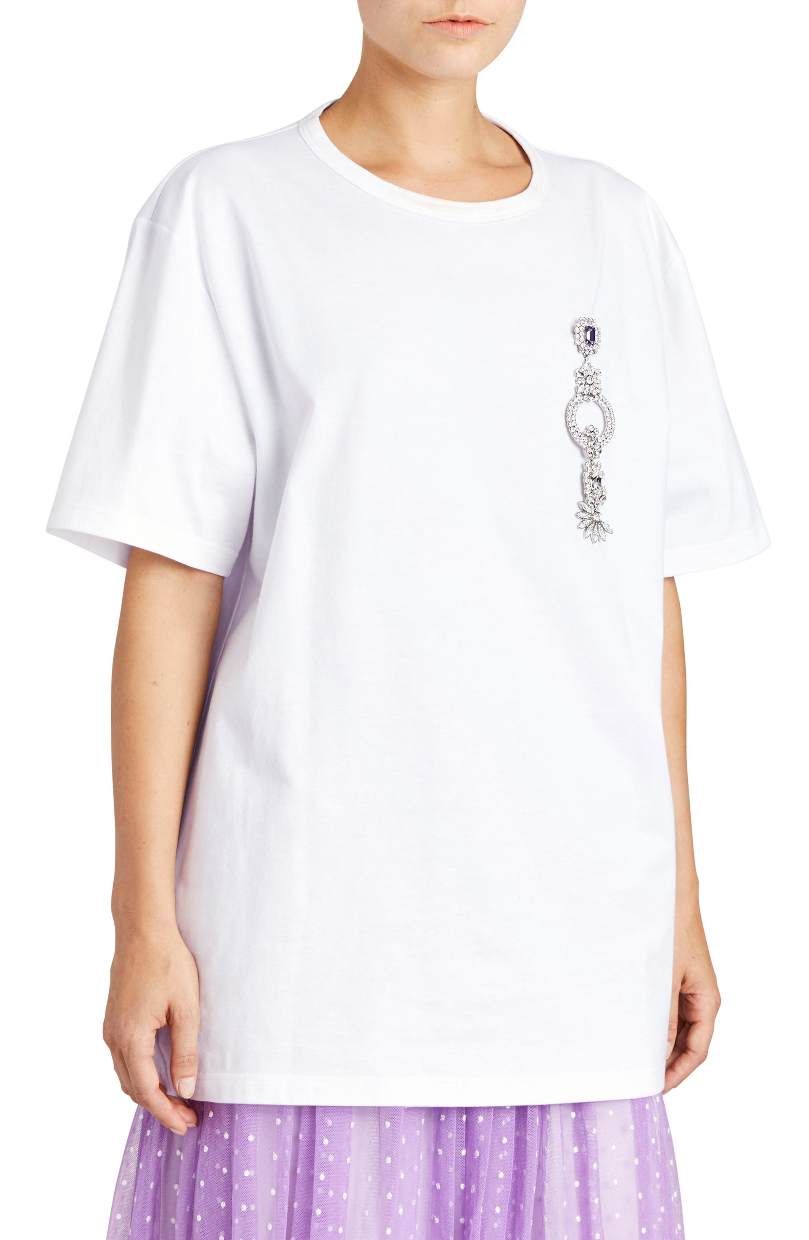 Main Image - Burberry Brooch Detail Cotton Tee