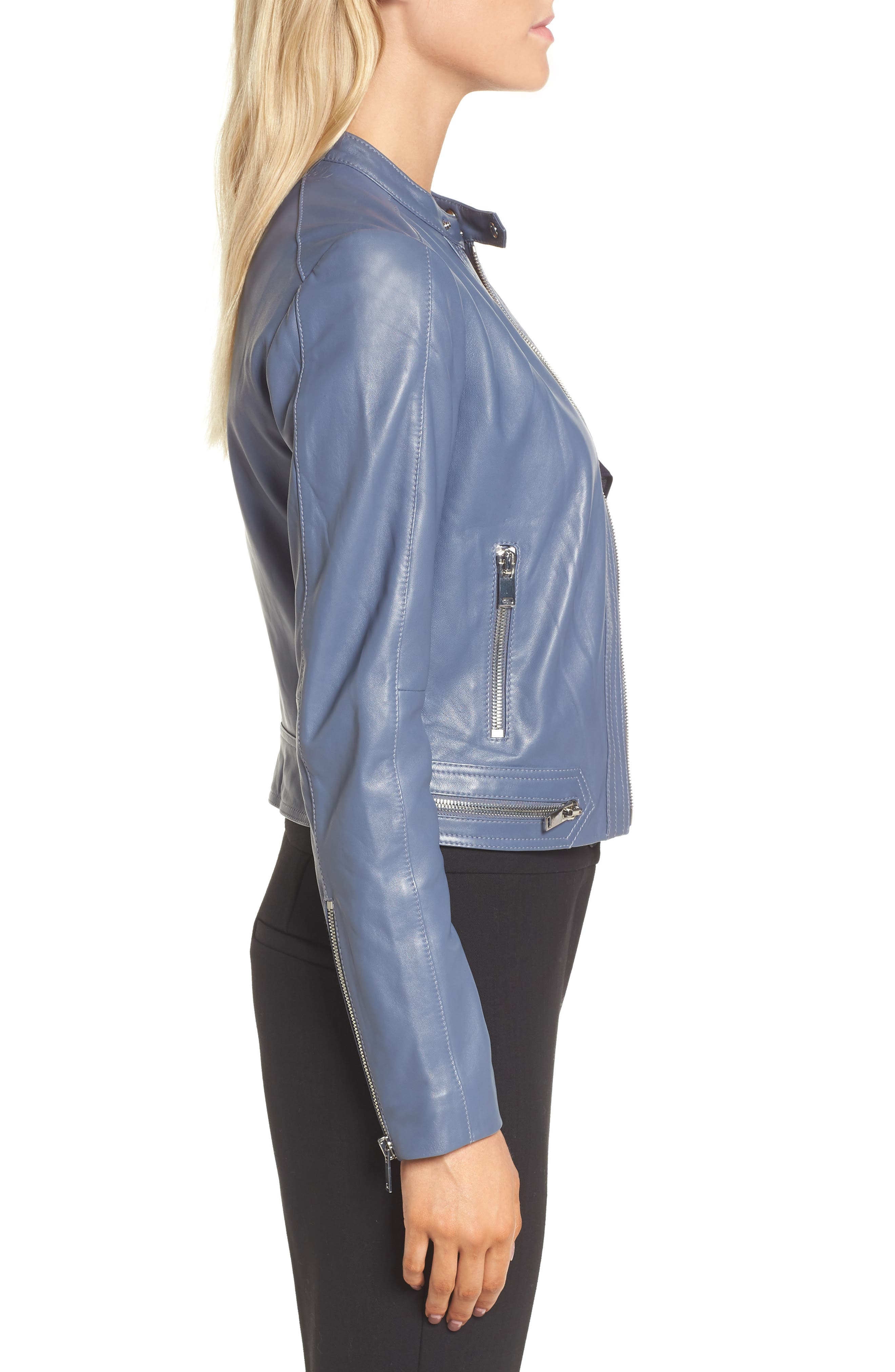 Leather Jacket,                             Alternate thumbnail 3, color,                             Grey Grisaille