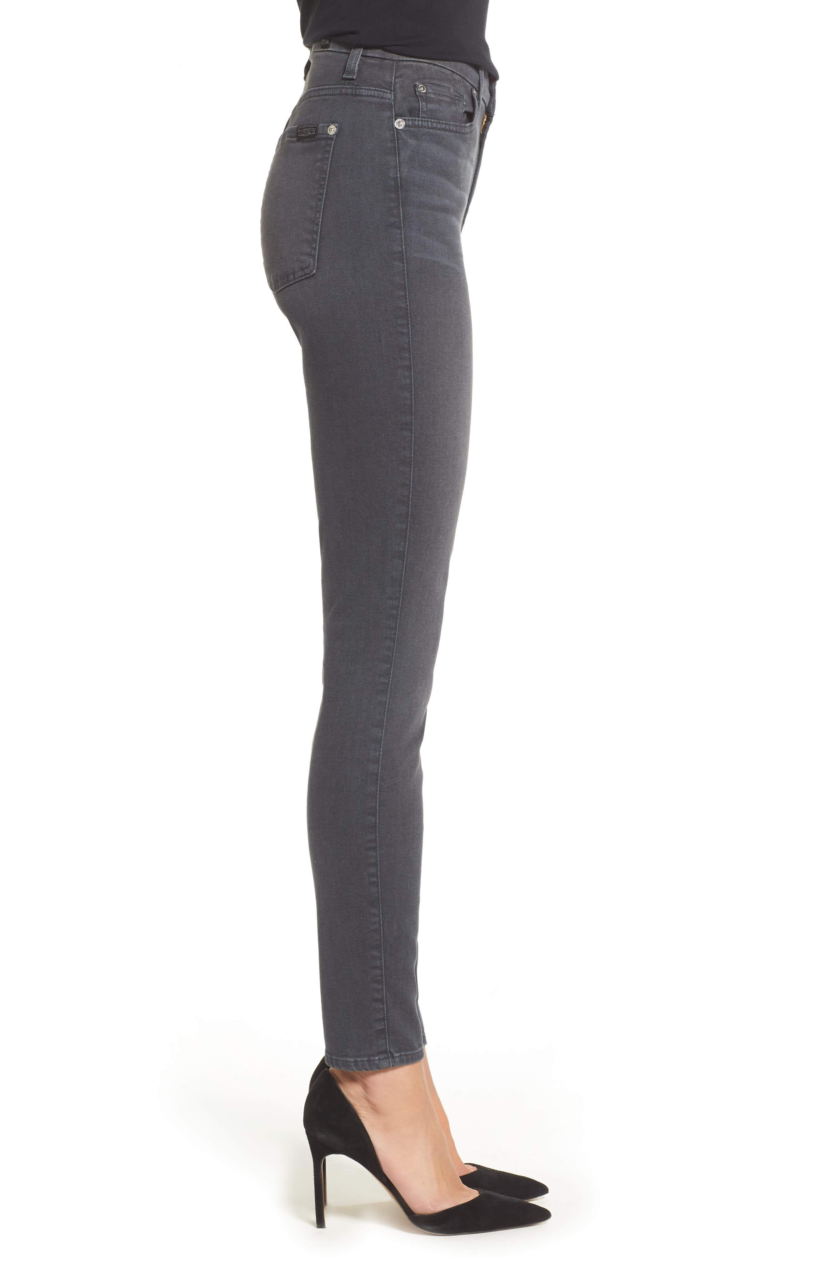 Alternate Image 3  - 7 For All Mankind® b(air) High Waist Skinny Jeans (Smoke)