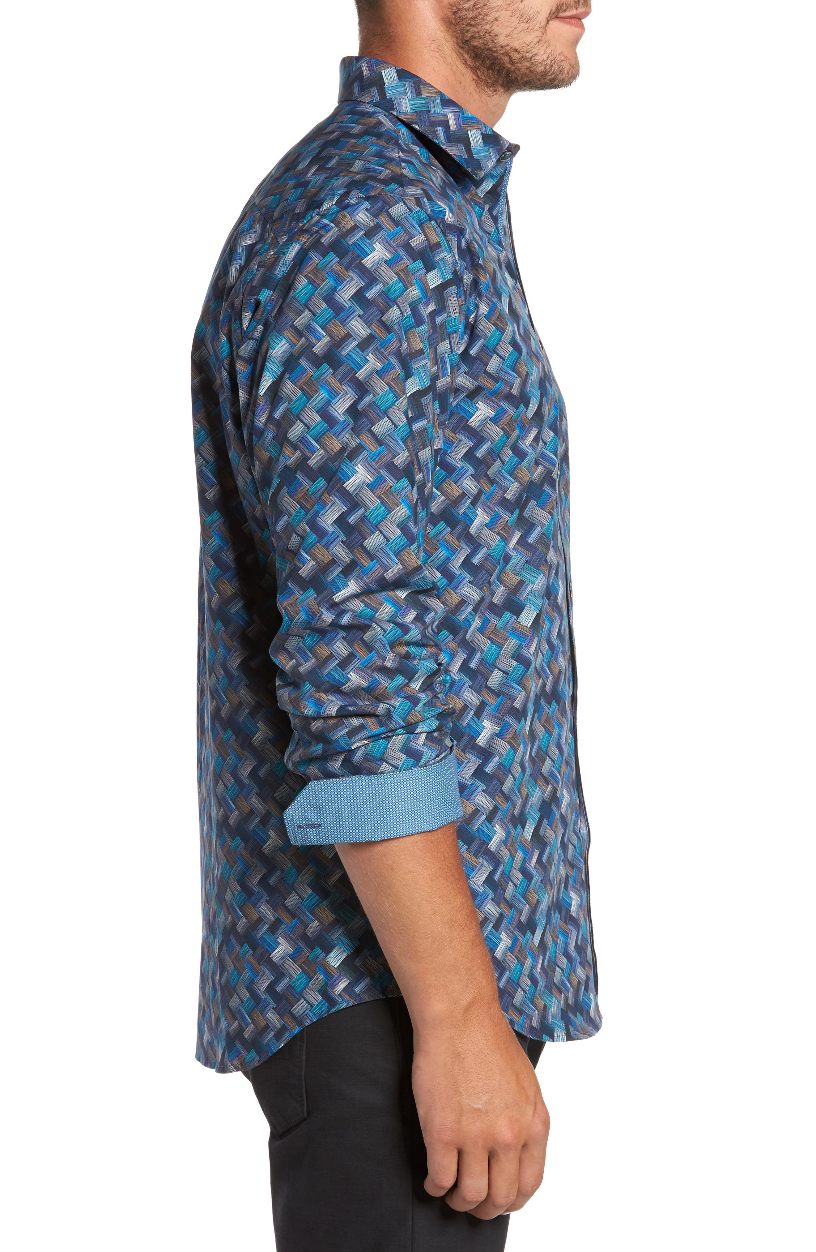 Alternate Image 3  - Bugatchi Classic Fit Basket Weave Print Sport Shirt