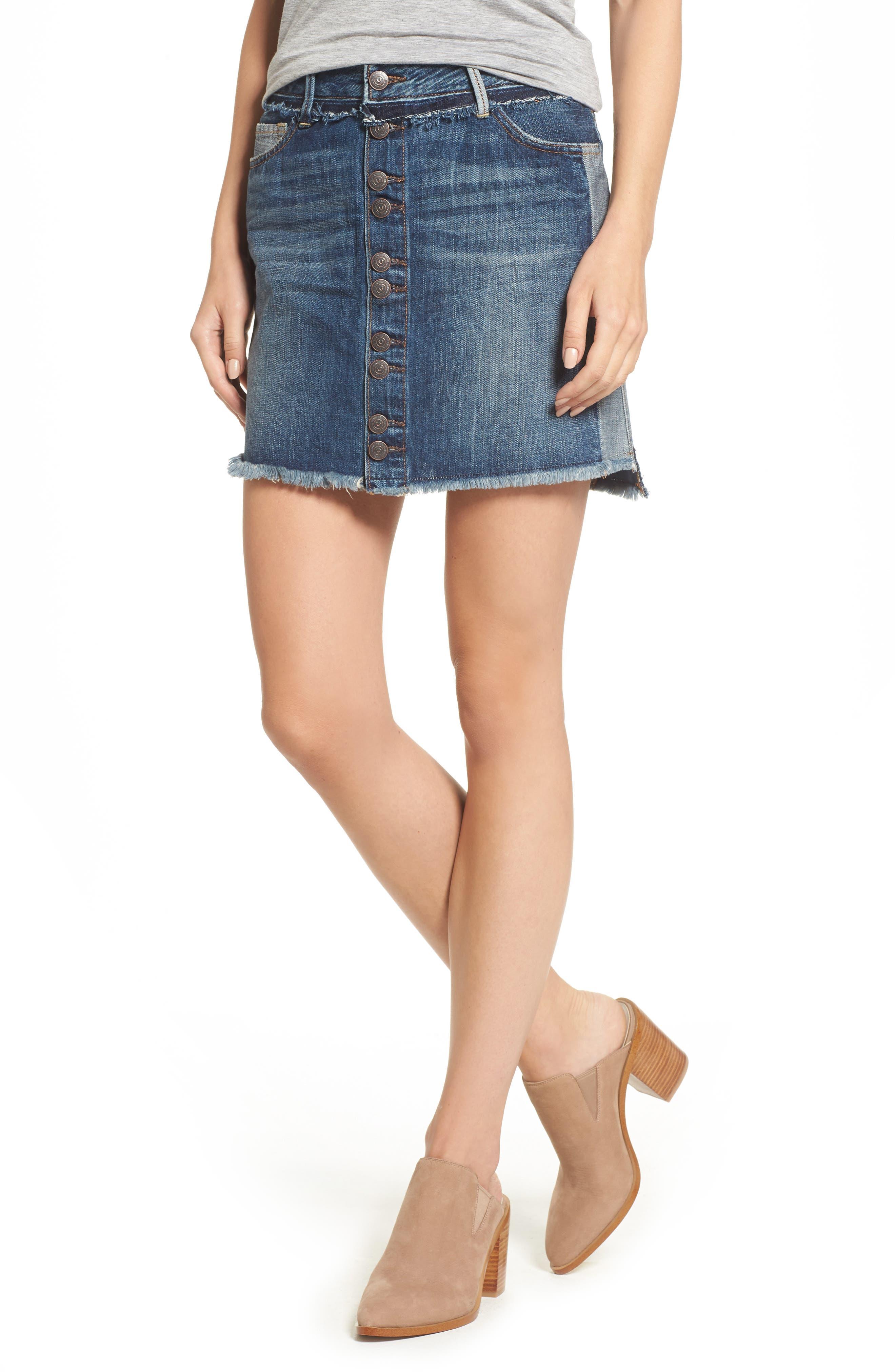 Deconstructed Denim Skirt,                         Main,                         color, Broken Record