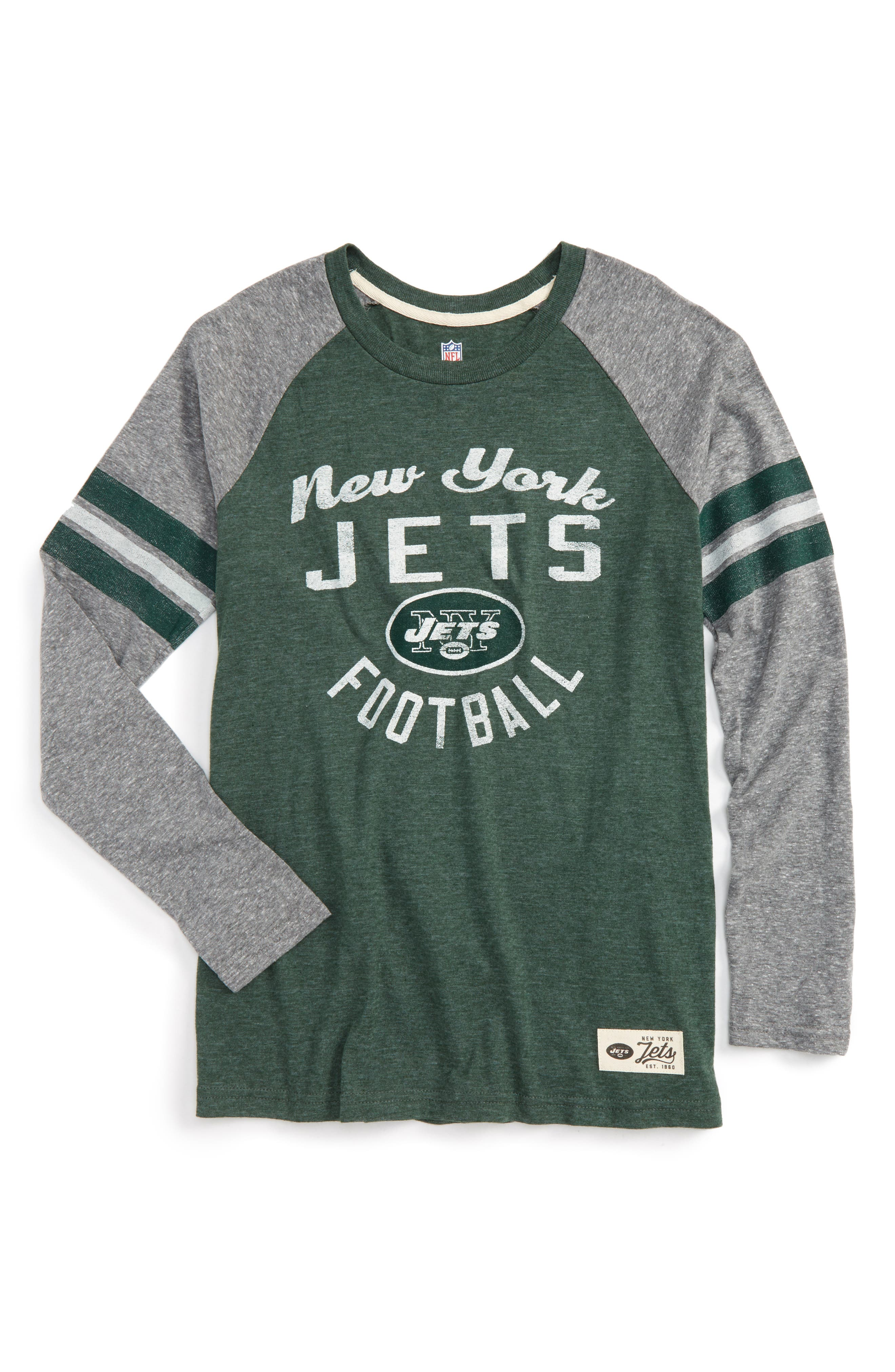 NFL New York Jets Distressed Logo T-Shirt,                         Main,                         color, Hunter