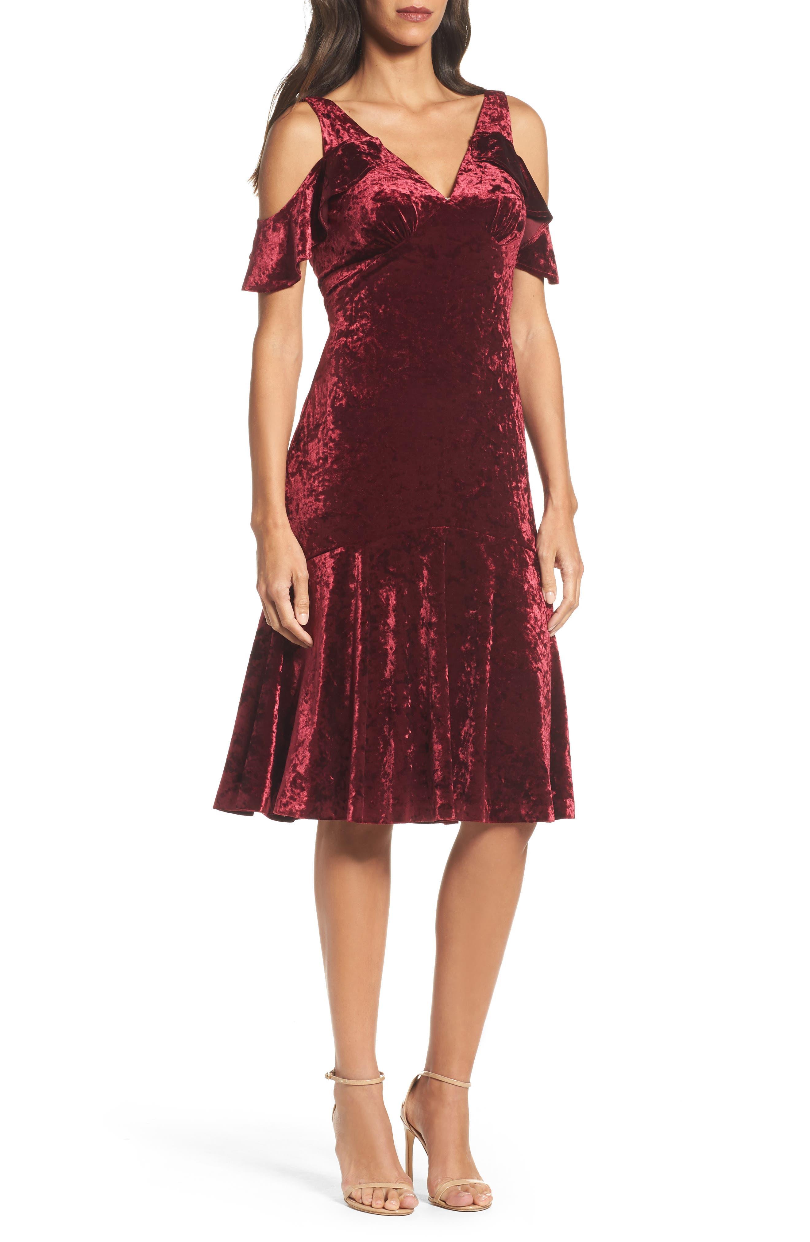 Cold Shoulder Velvet Dress,                         Main,                         color, Burgundy