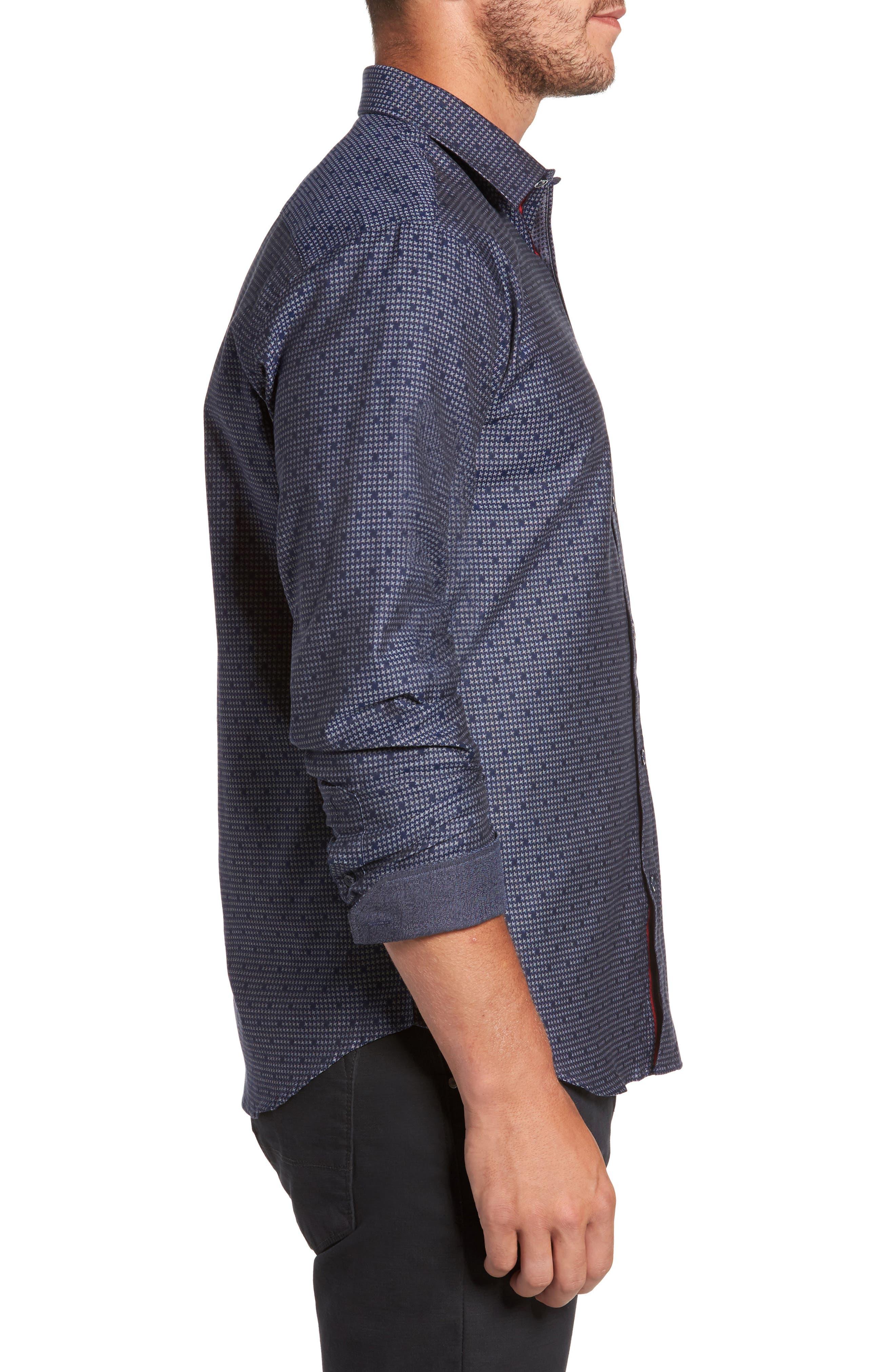 Alternate Image 3  - Bugatchi Trim Fit Dot Houndstooth Sport Shirt