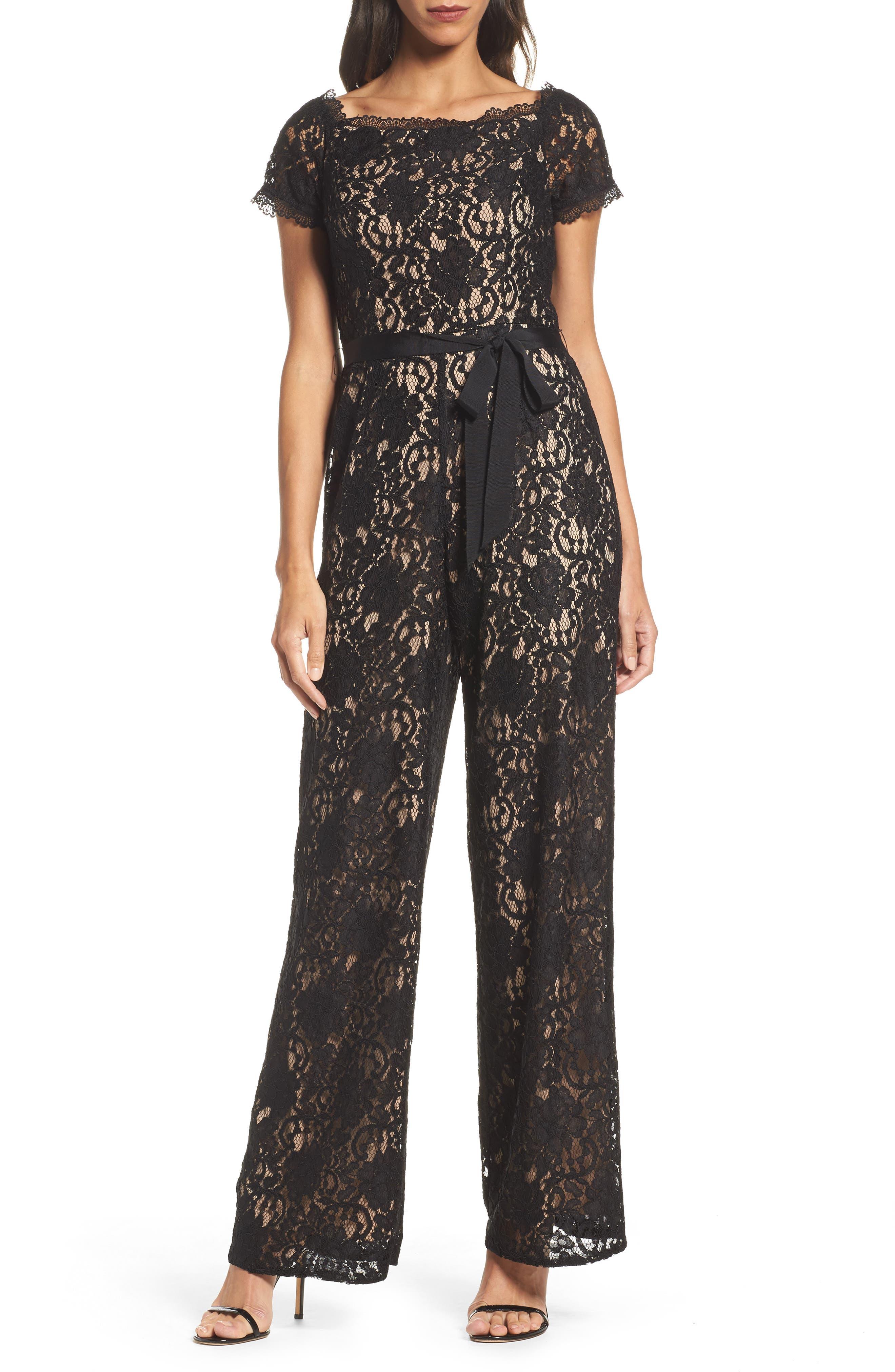 Lace Jumpsuit,                         Main,                         color, Black/ Nude