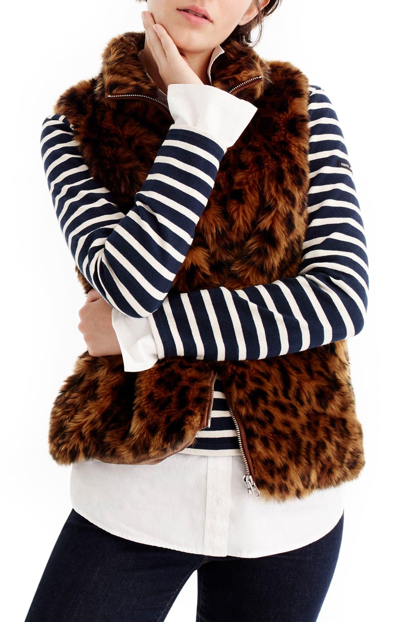 J.Crew Faux Leopard Fur Vest (Regular & Petite)