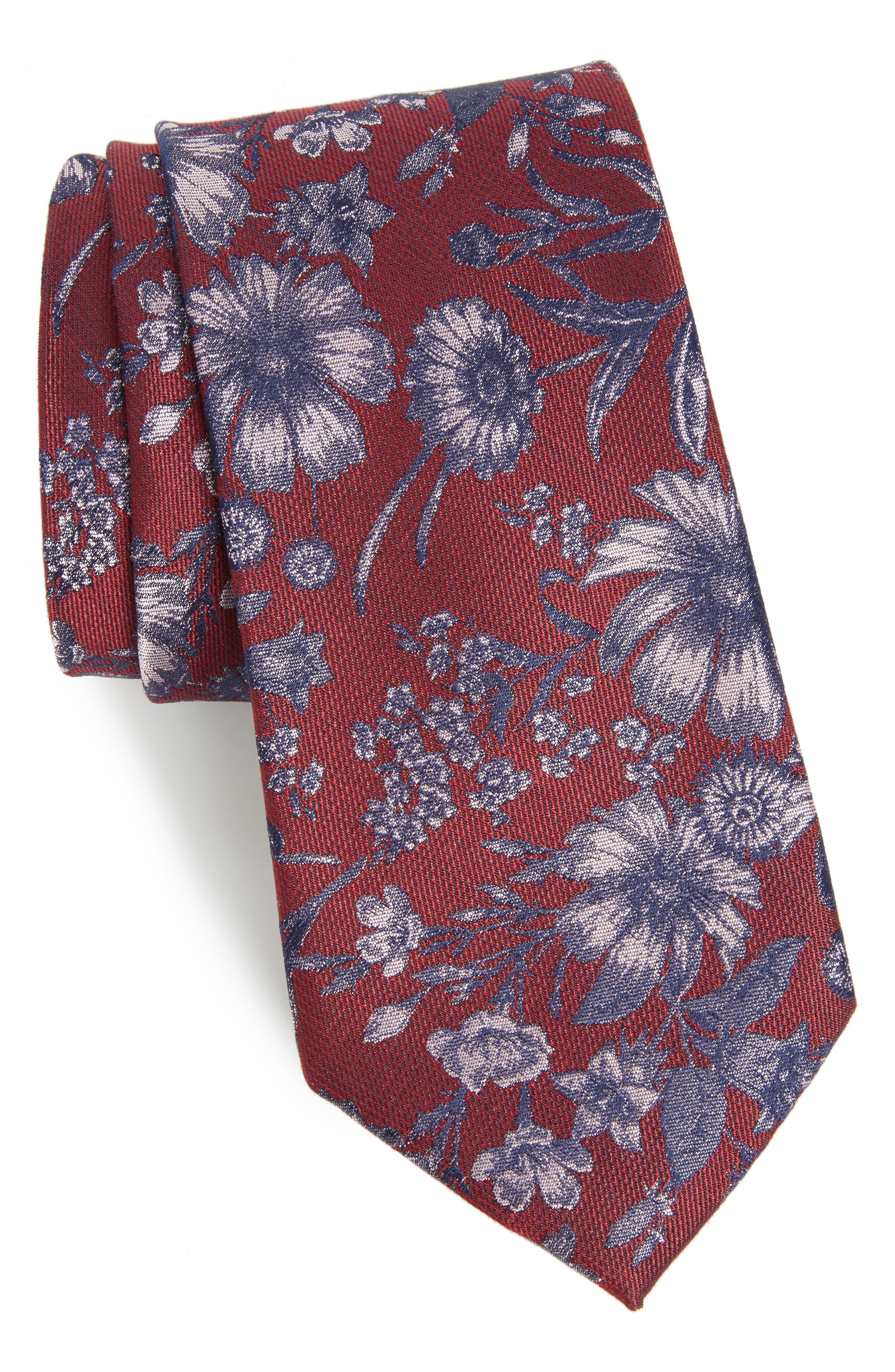 Calibrate Fletcher Floral Print Silk & Cotton Tie