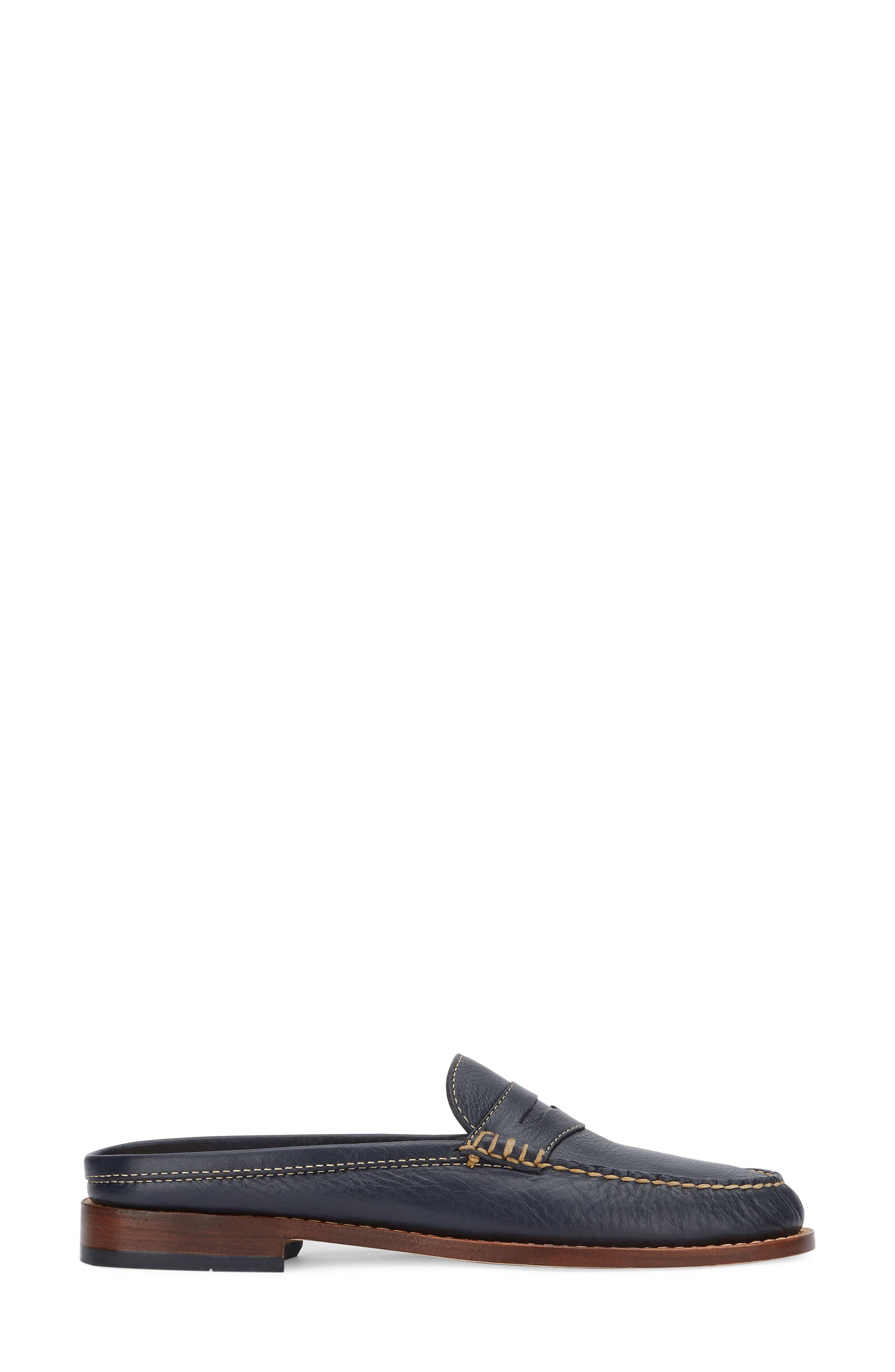 Wynn Loafer Mule,                             Alternate thumbnail 3, color,                             Navy Leather
