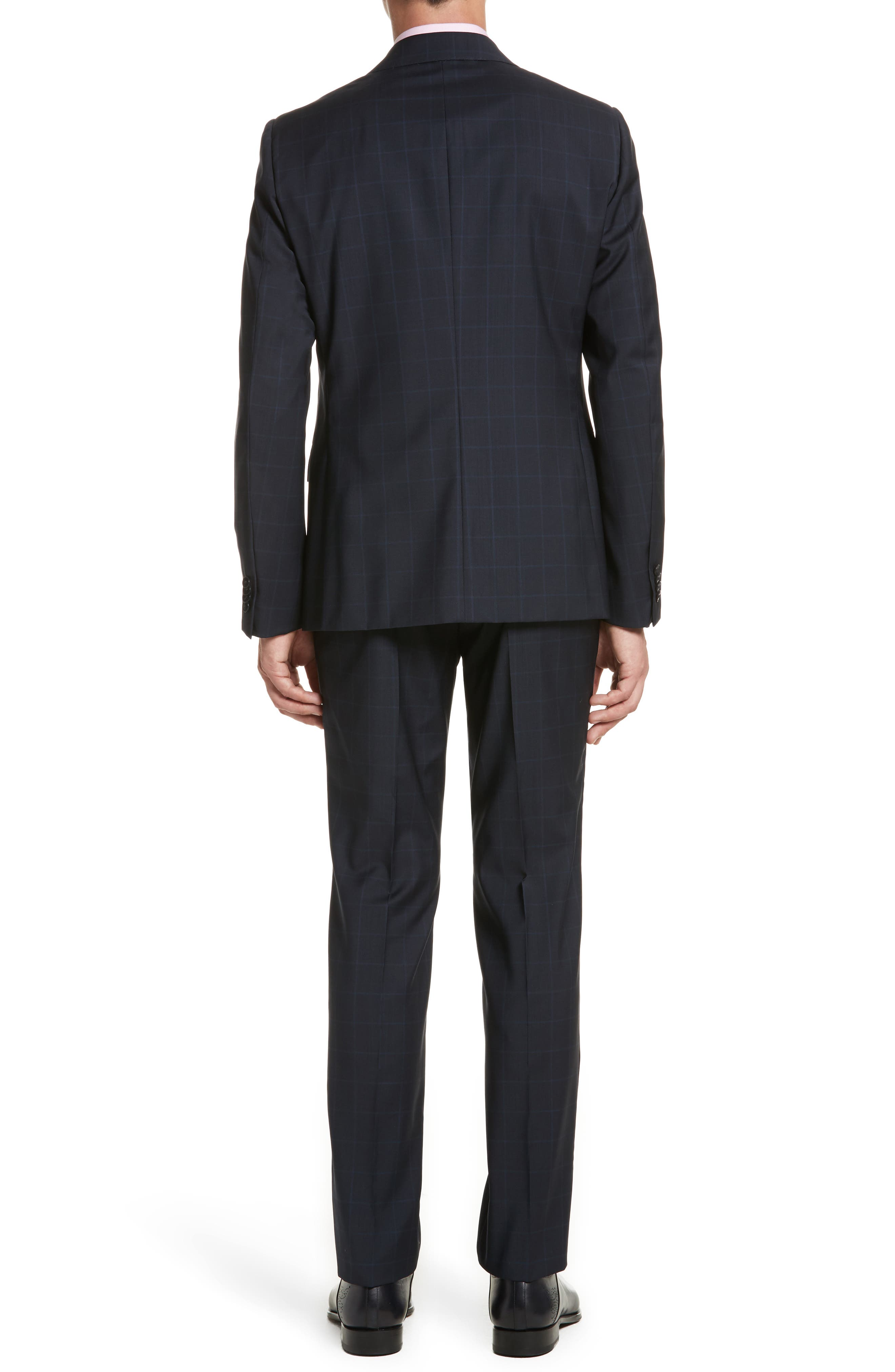 Classic Fit Windowpane Wool Suit,                             Alternate thumbnail 2, color,                             Navy Check