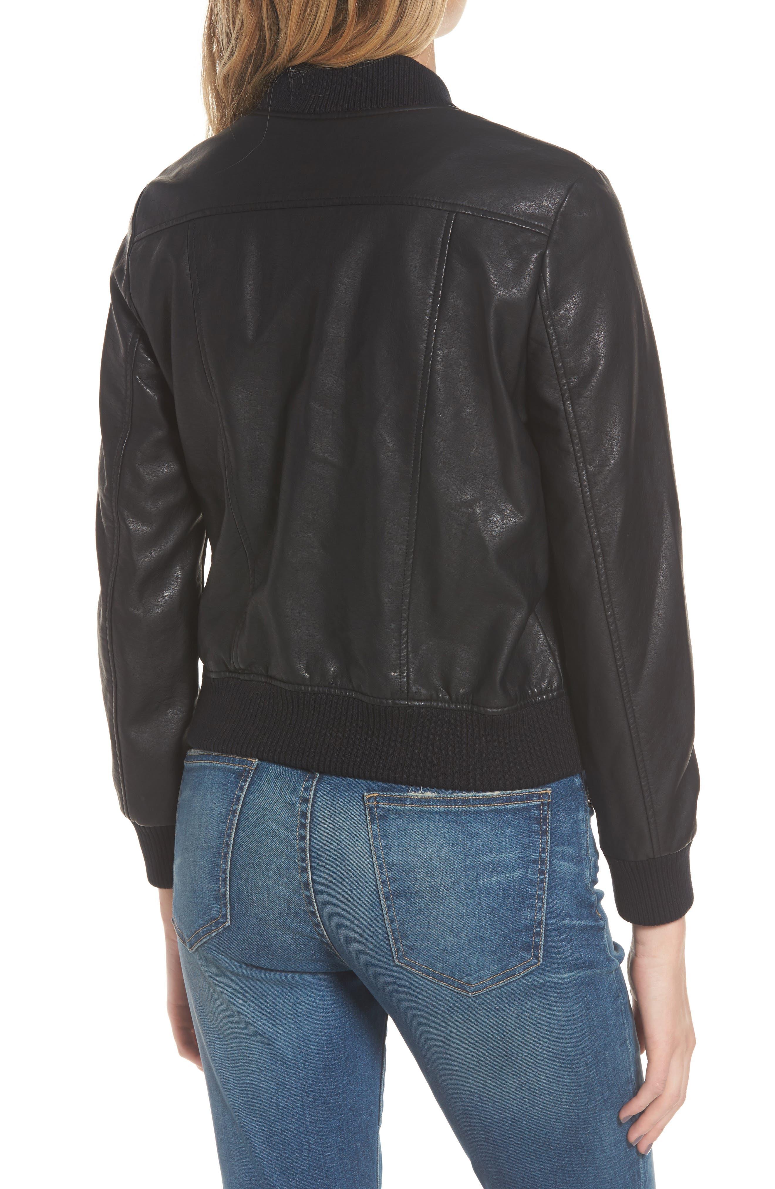 Gavin Faux Leather Bomber Jacket,                             Alternate thumbnail 2, color,                             Black