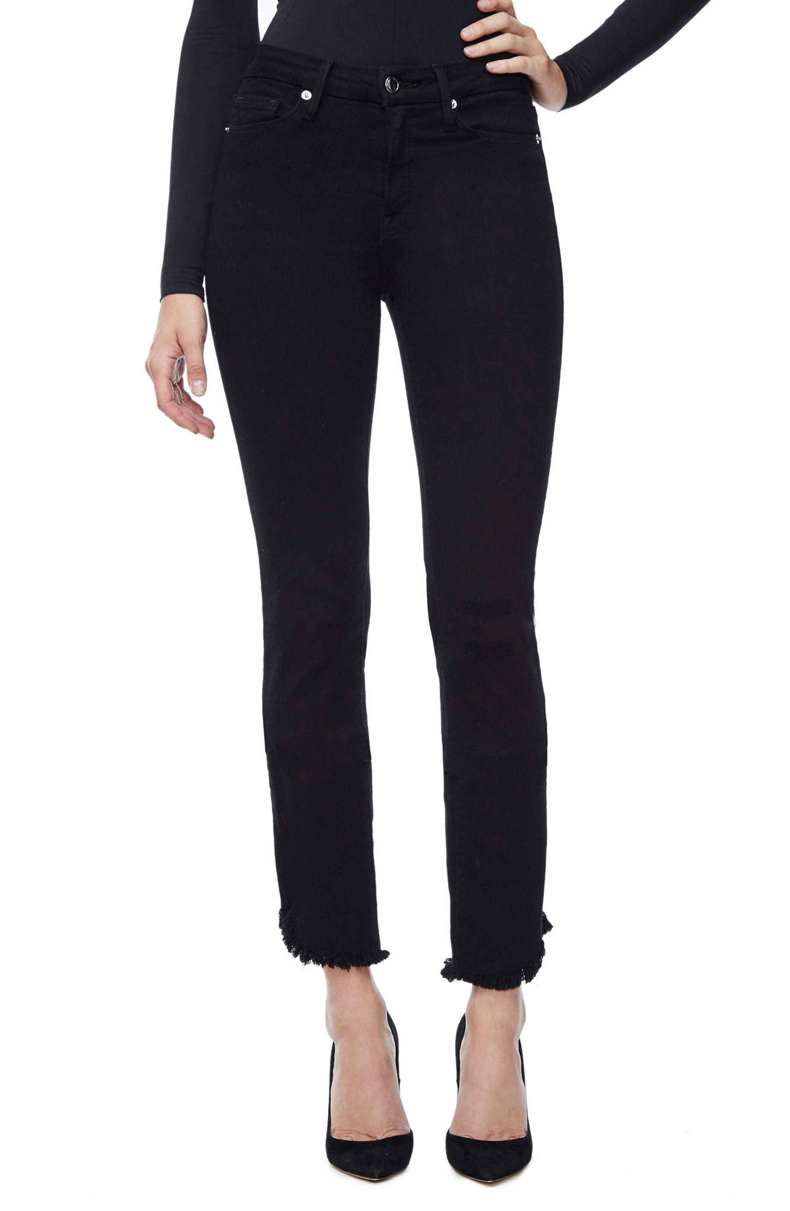 Good American Good Straight High Waist Tulip Hem Jeans (Black 001) (Extended Sizes)