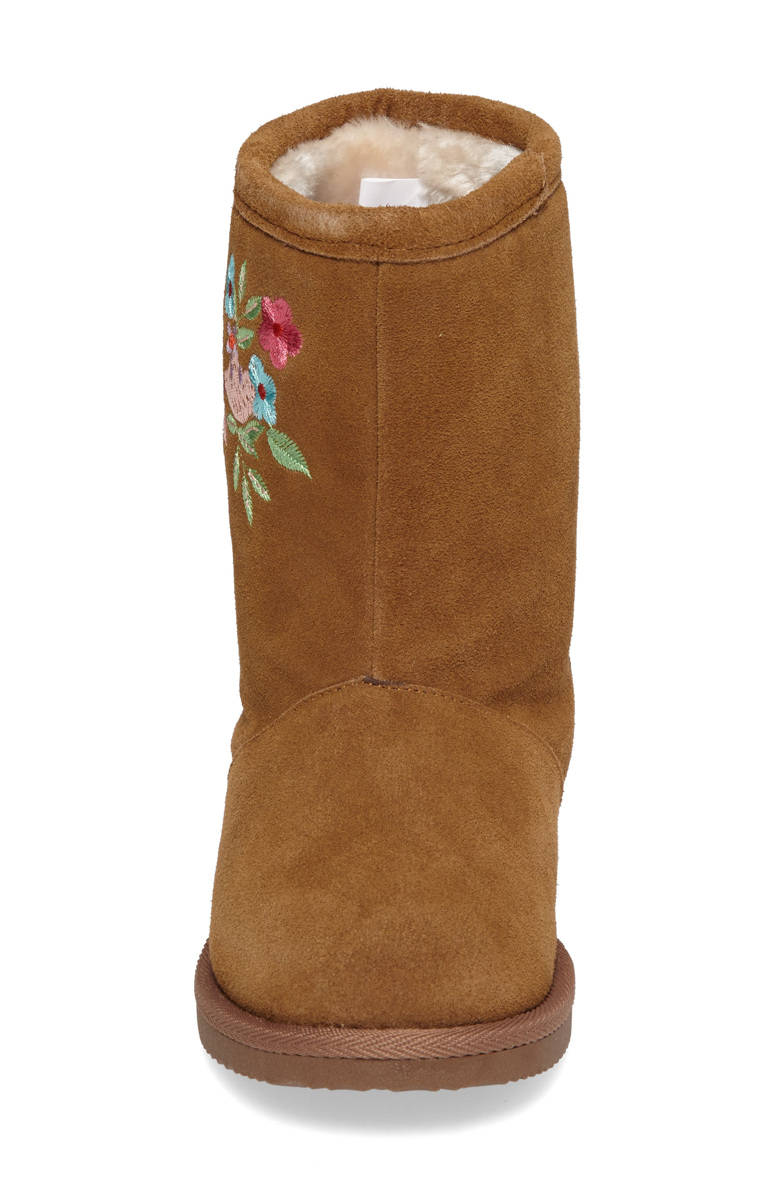 Aline Embroidered Faux Fur Boot,                             Alternate thumbnail 4, color,                             Chestnut Suede