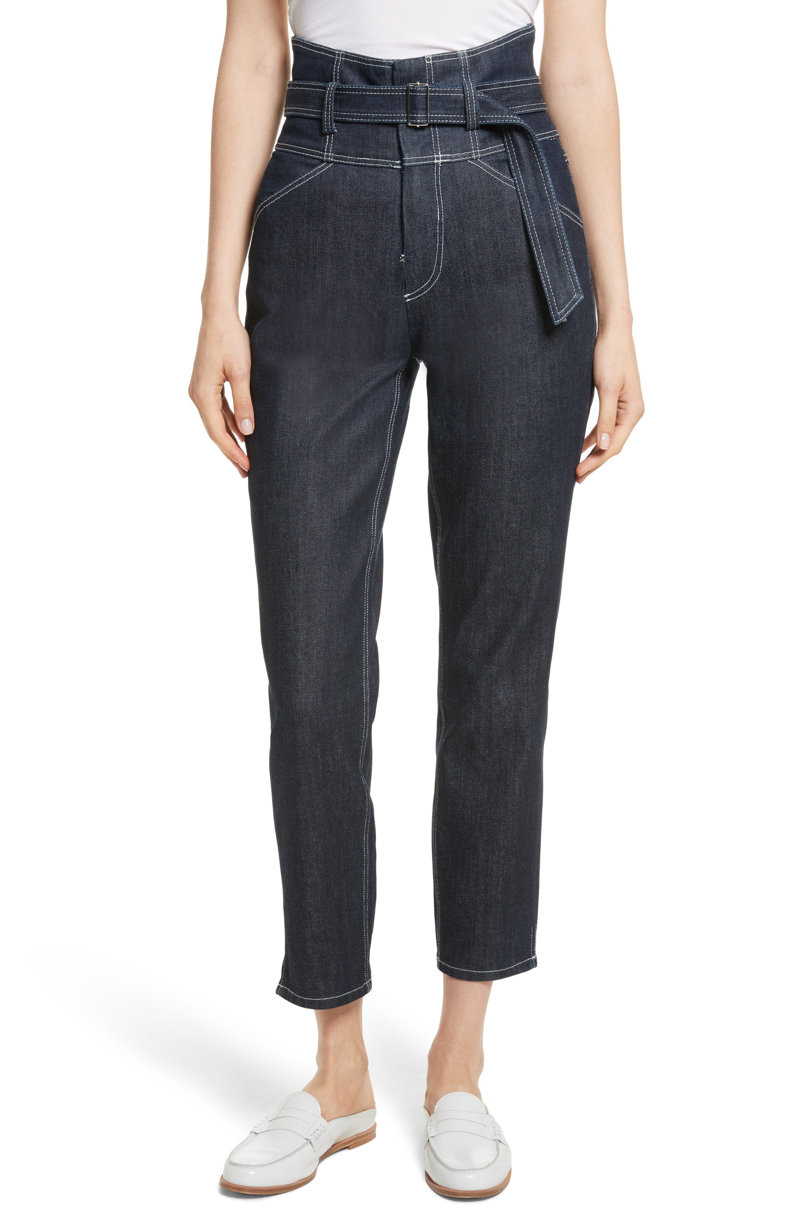 Belted Crop Jeans,                         Main,                         color, Raw Rinse Wash