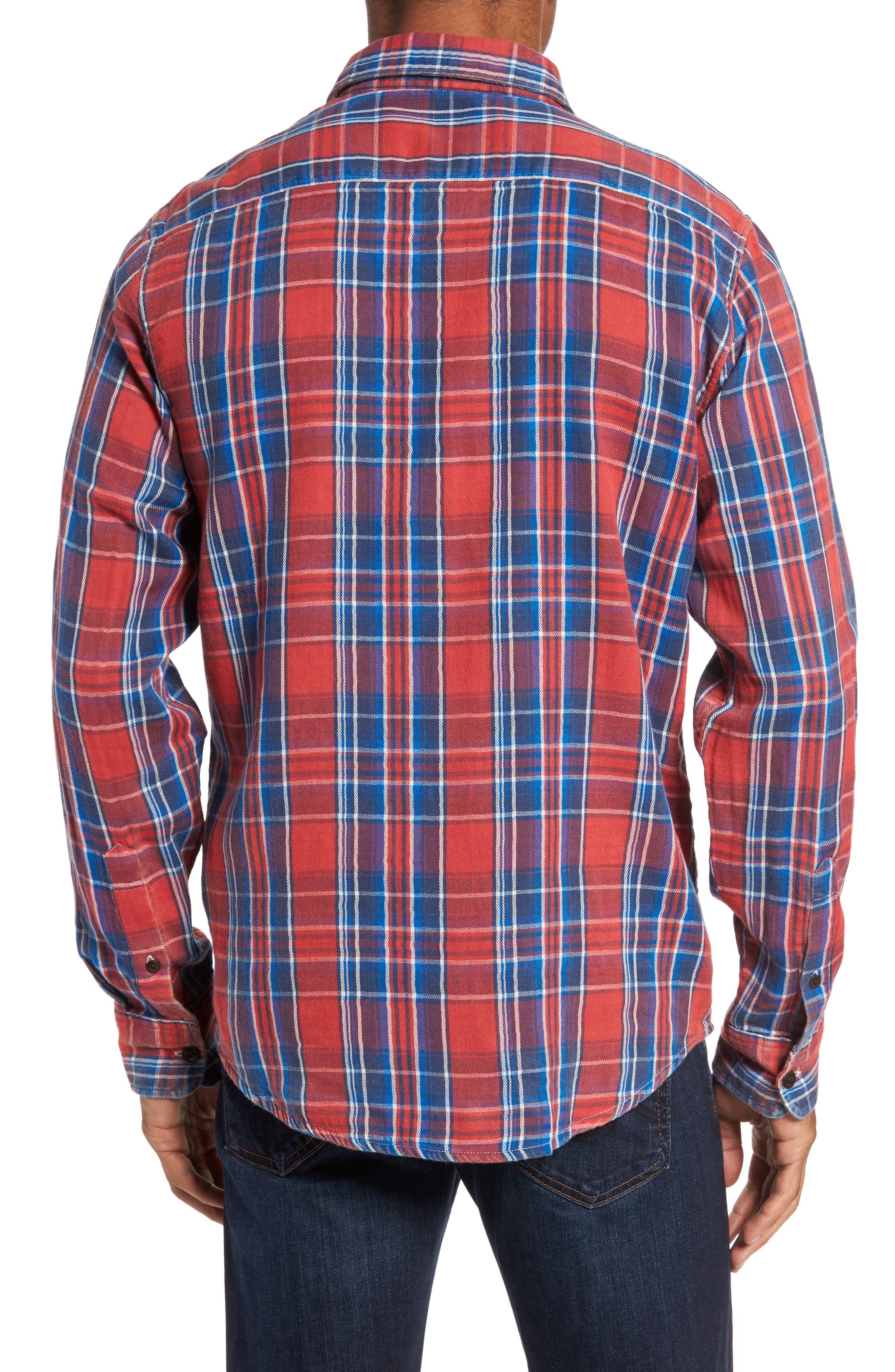 Plaid Sport Shirt,                             Alternate thumbnail 2, color,                             Red Farmer Plaid