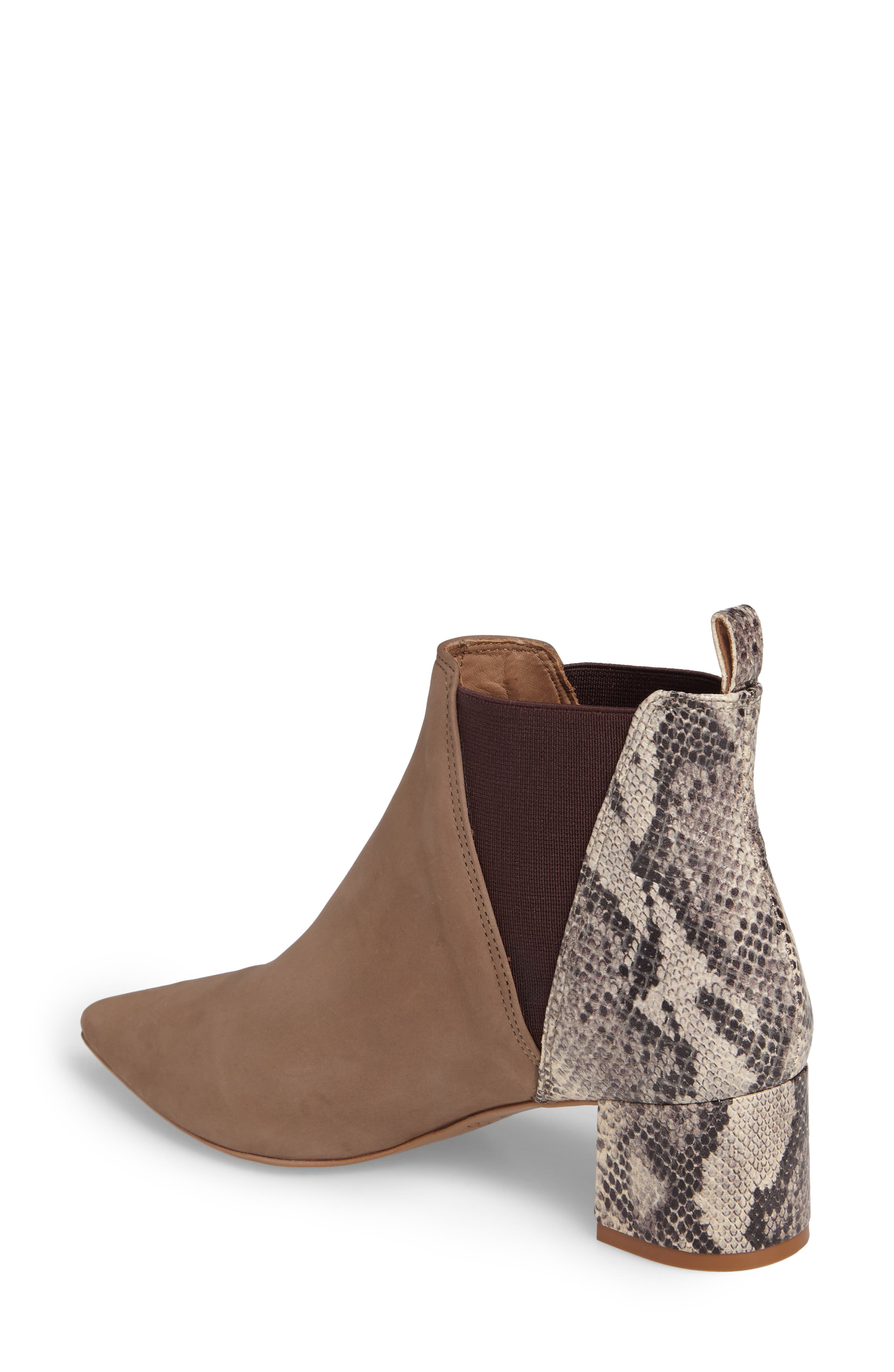 Renita Pointy Toe Chelsea Bootie,                             Alternate thumbnail 2, color,                             Taupe Snake Print Suede