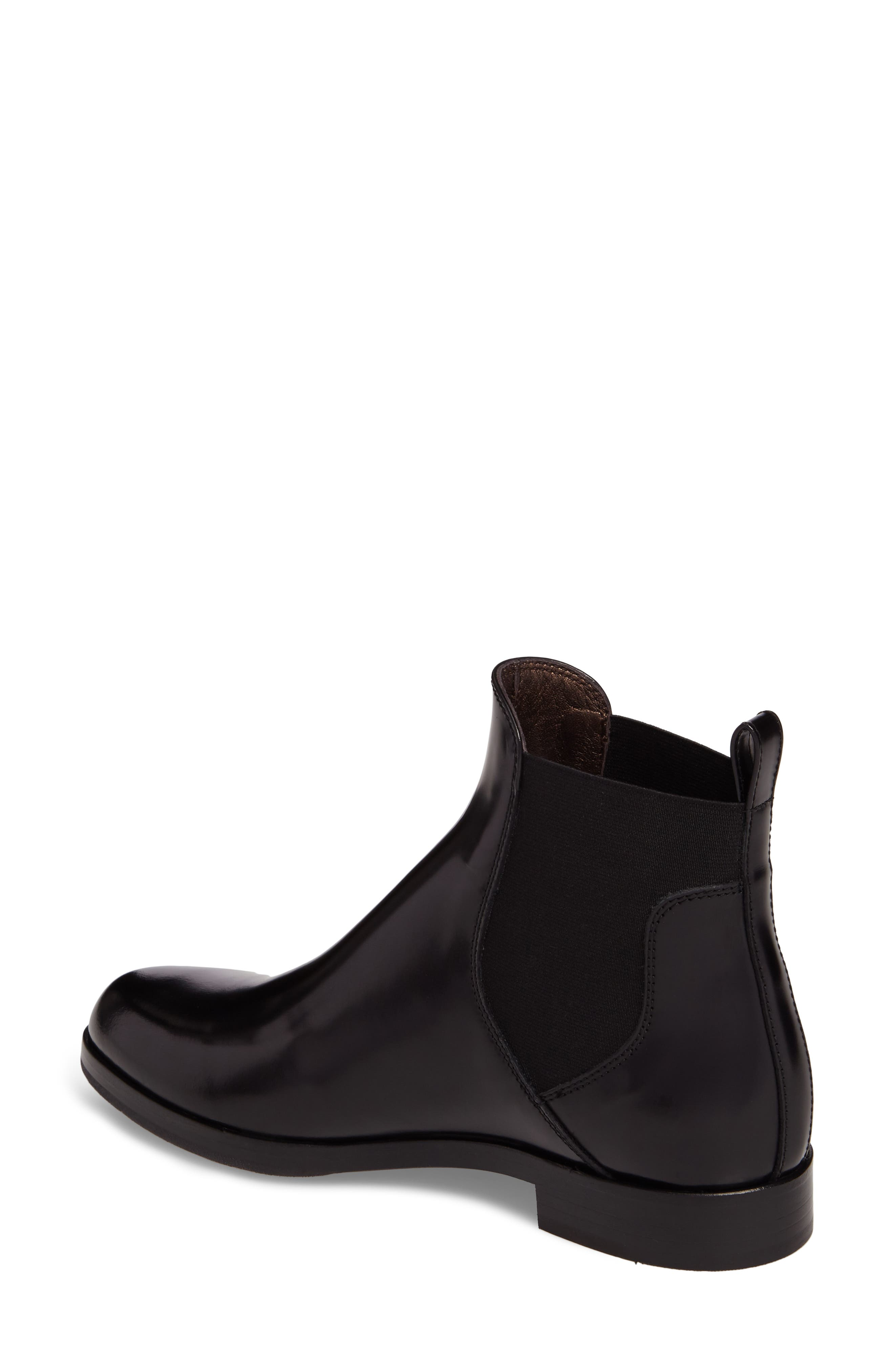Gored Bootie,                             Alternate thumbnail 2, color,                             Black Leather