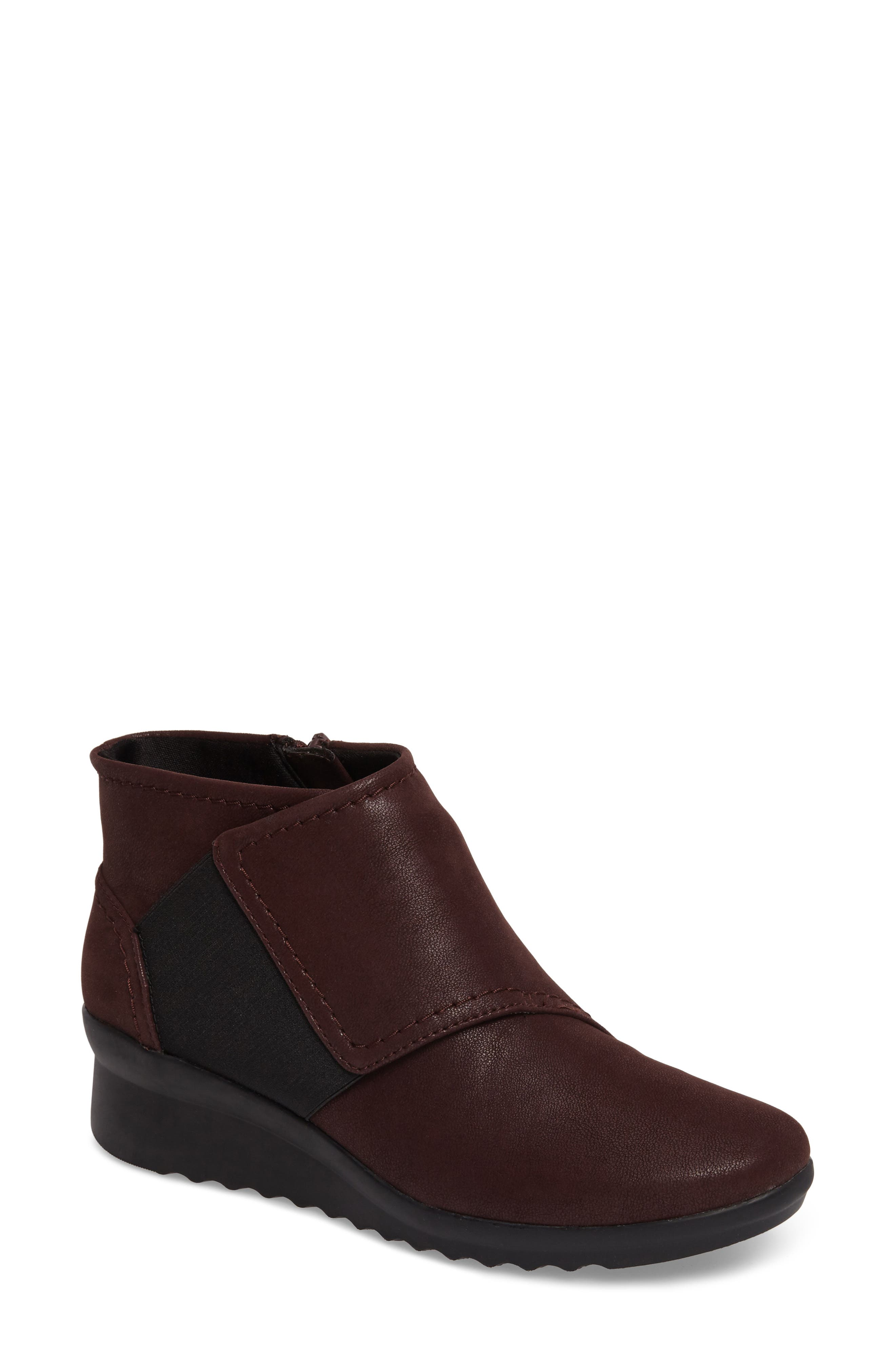 Caddell Rush Bootie,                             Main thumbnail 1, color,                             Burgundy Leather