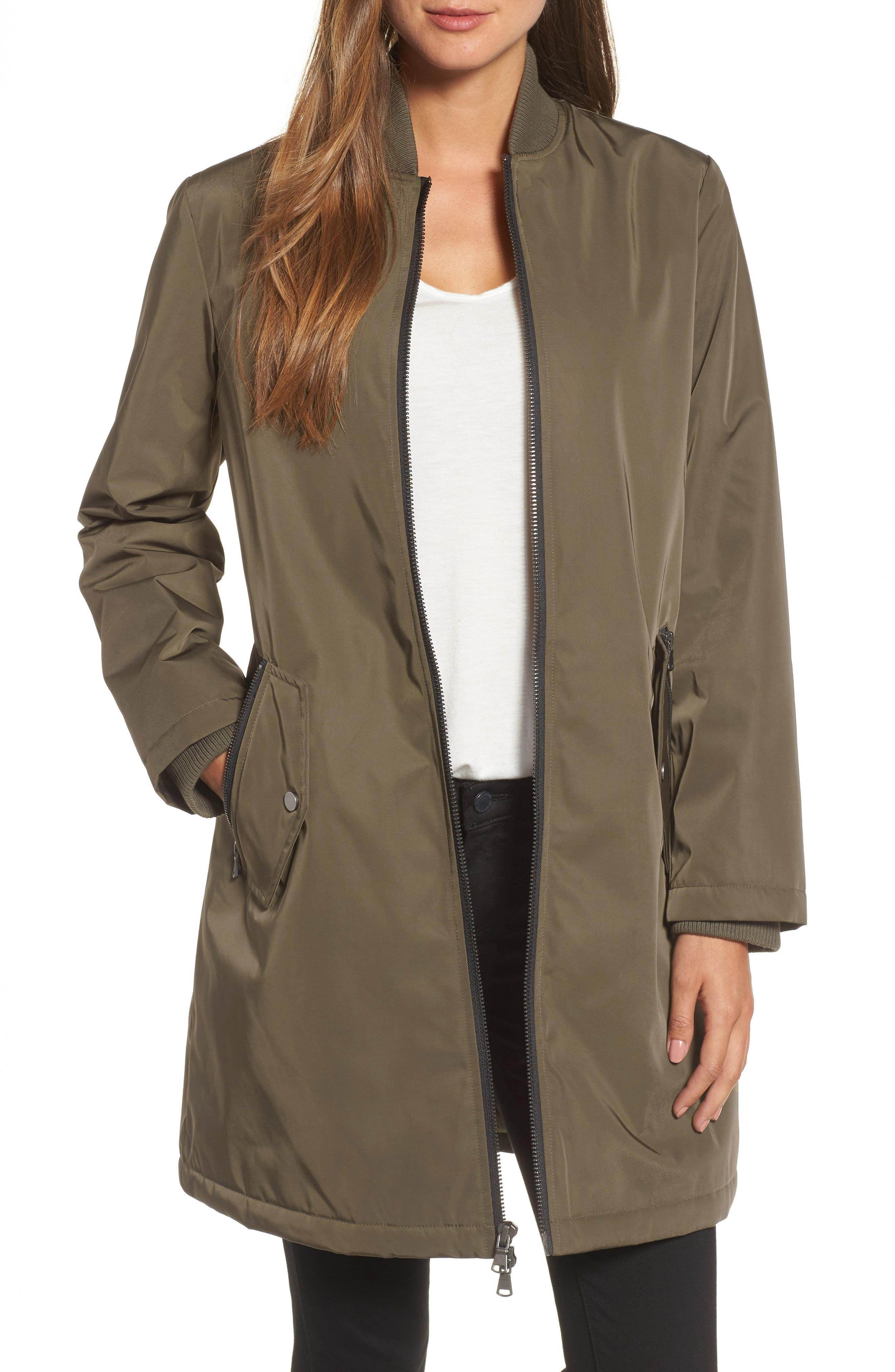 Calson<sup>®</sup> Long Bomber Jacket,                         Main,                         color, Olive