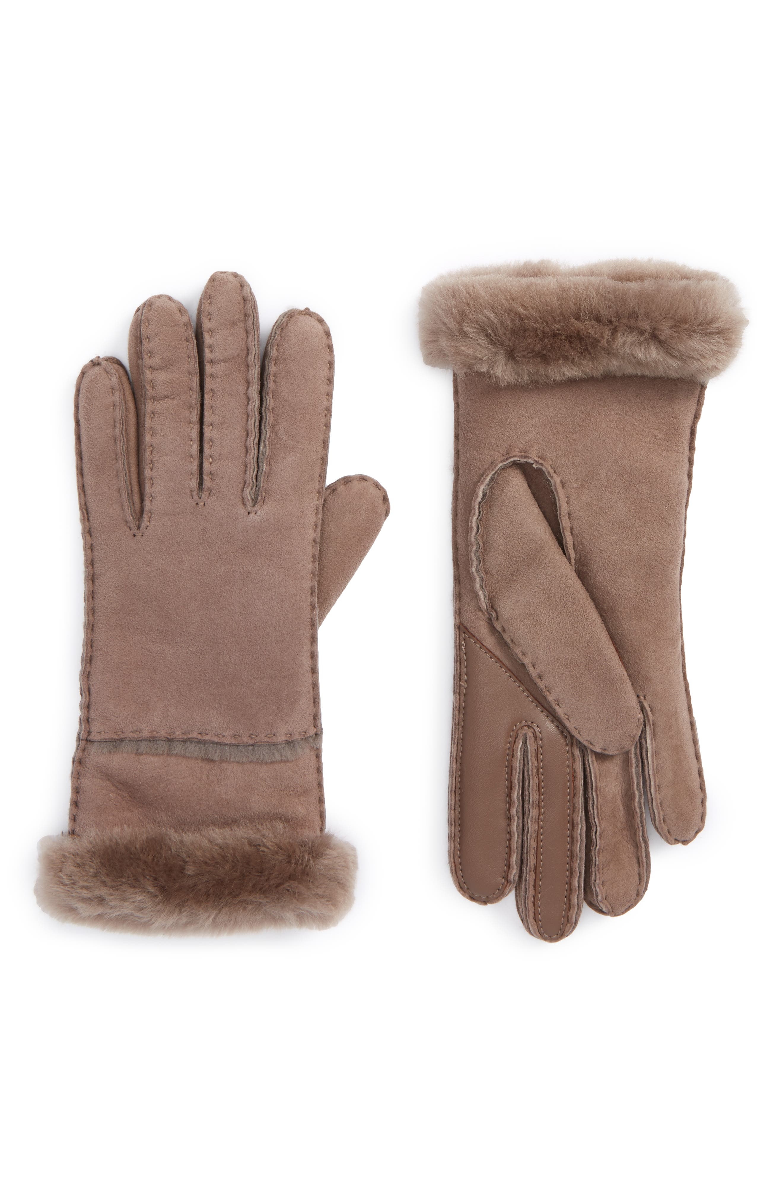 Main Image - UGG® Slim Genuine Shearling Tech Gloves