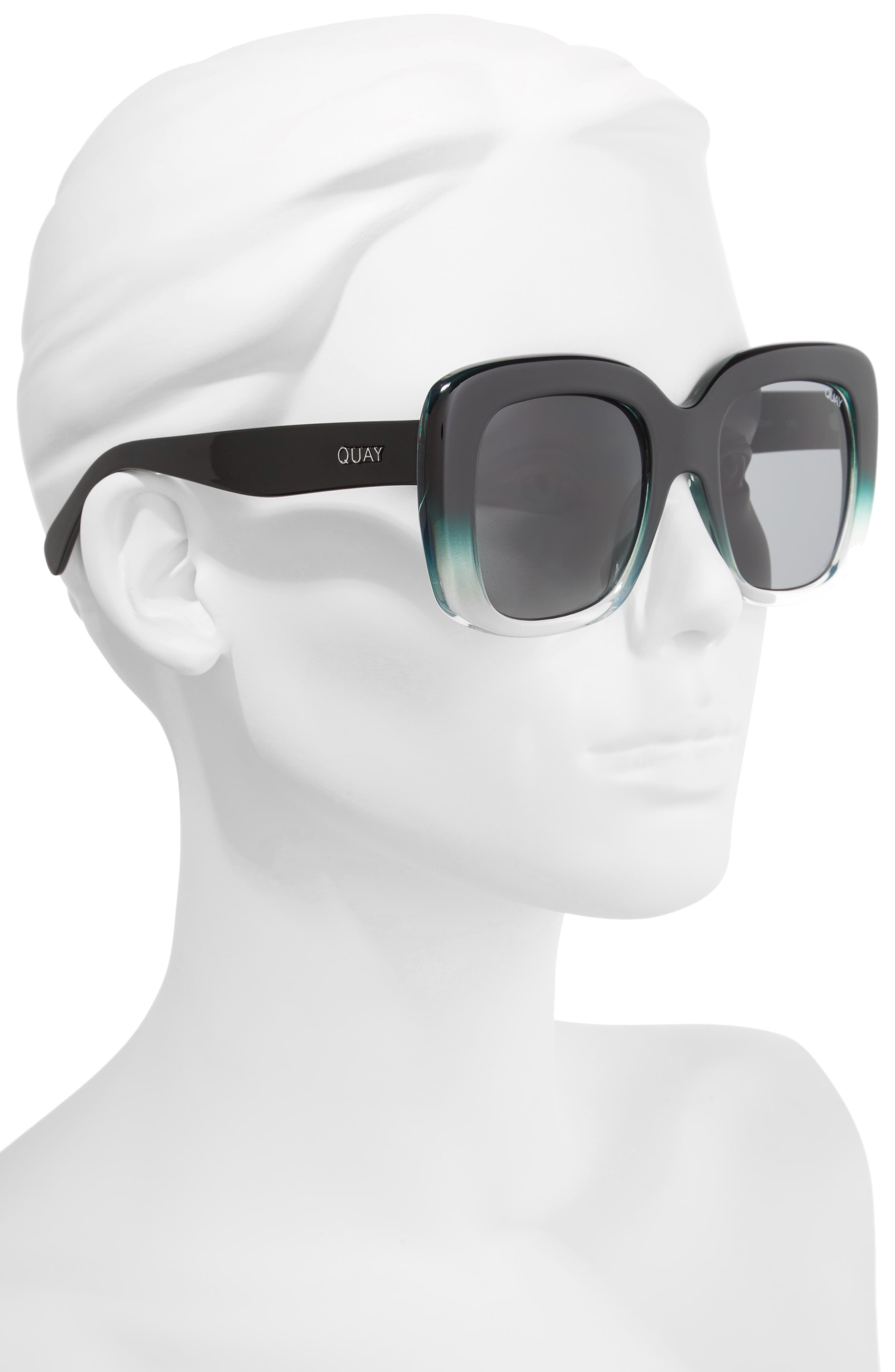 Day After Day 53mm Square Sunglasses,                             Alternate thumbnail 2, color,                             Black/ Green Smoke