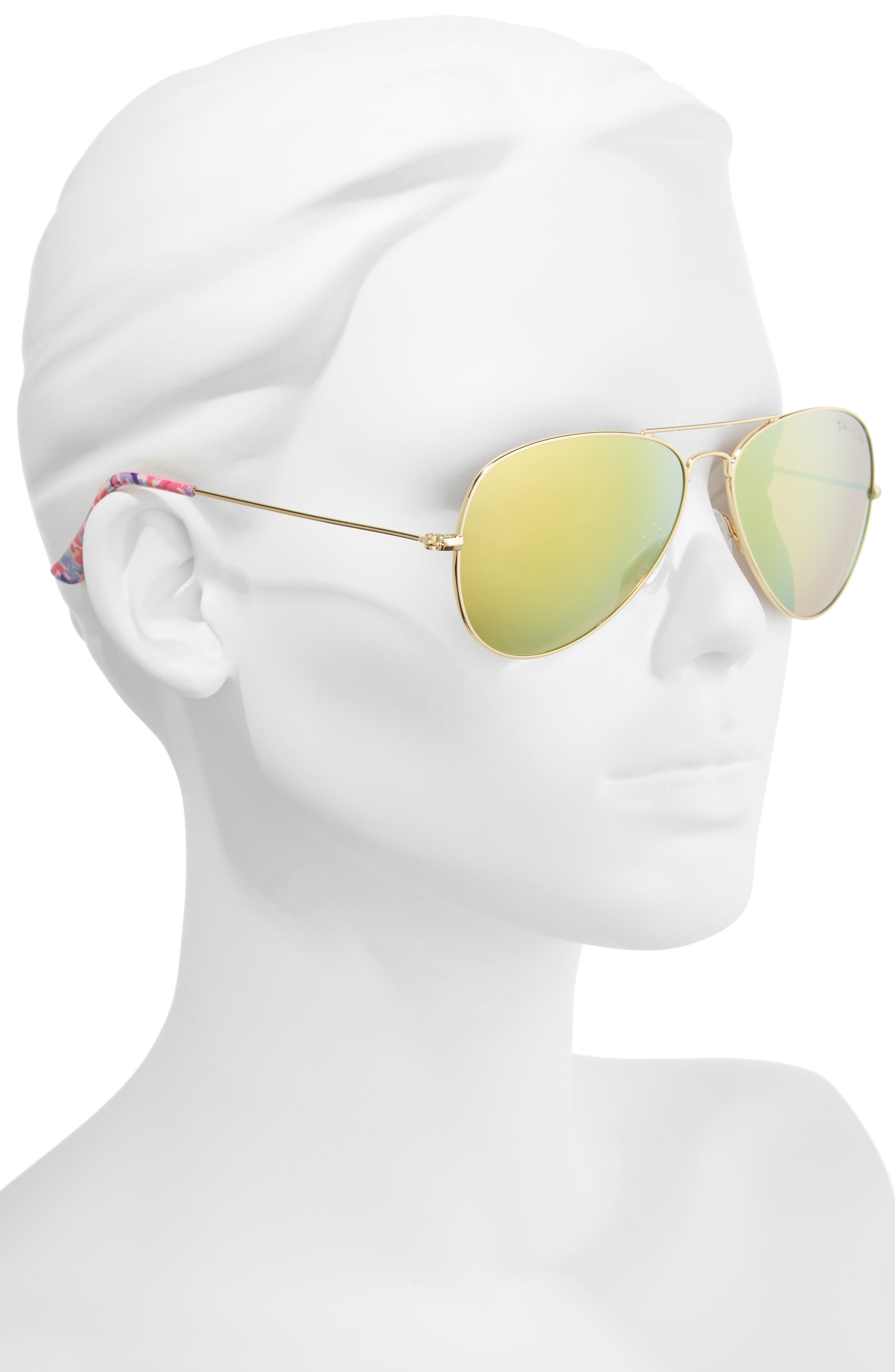 Lexy 59mm Polarized Aviator Sunglasses,                             Alternate thumbnail 2, color,                             Pink