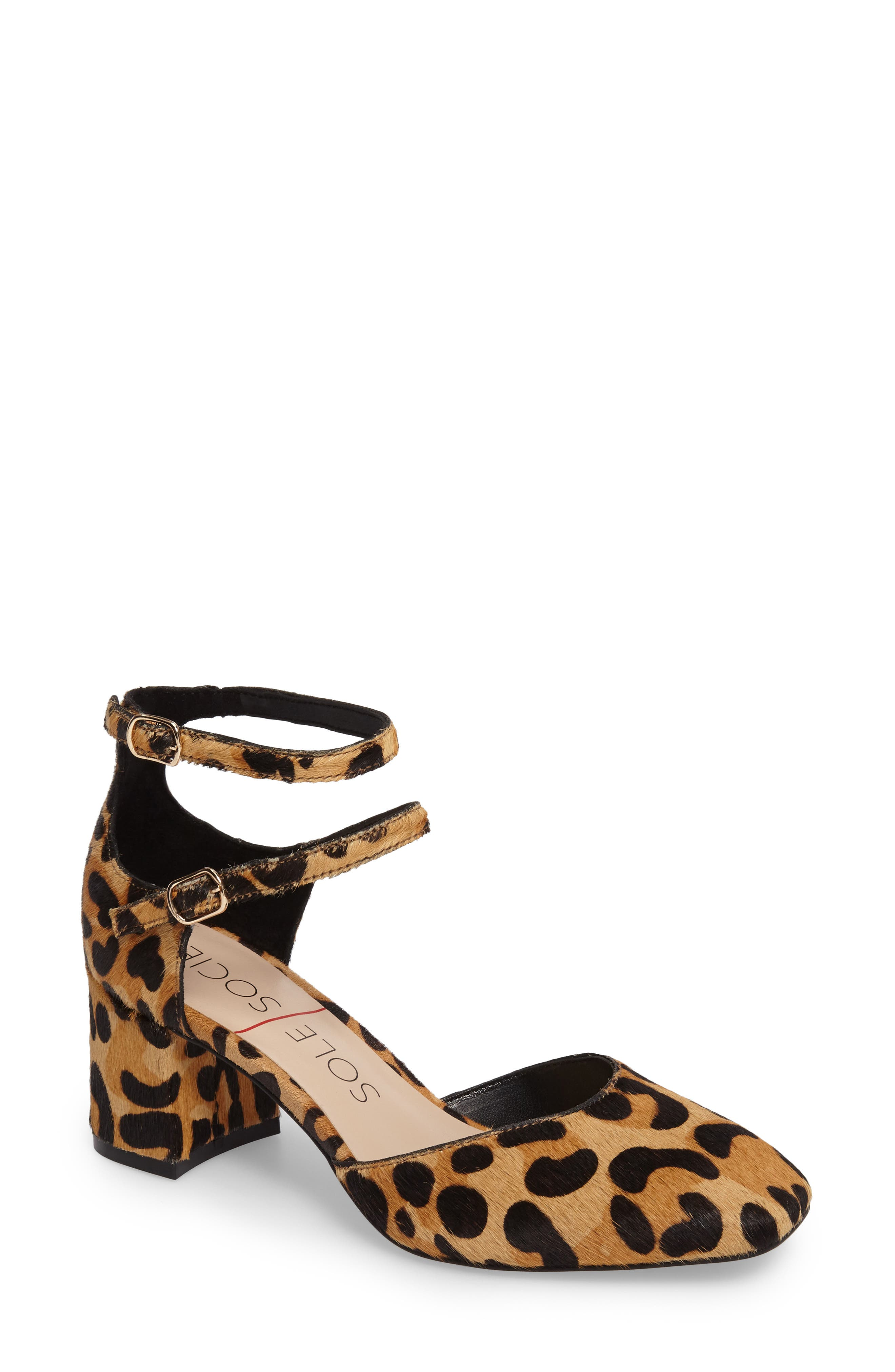 Selby Double Strap Pump,                             Main thumbnail 1, color,                             Leopard Haircalf