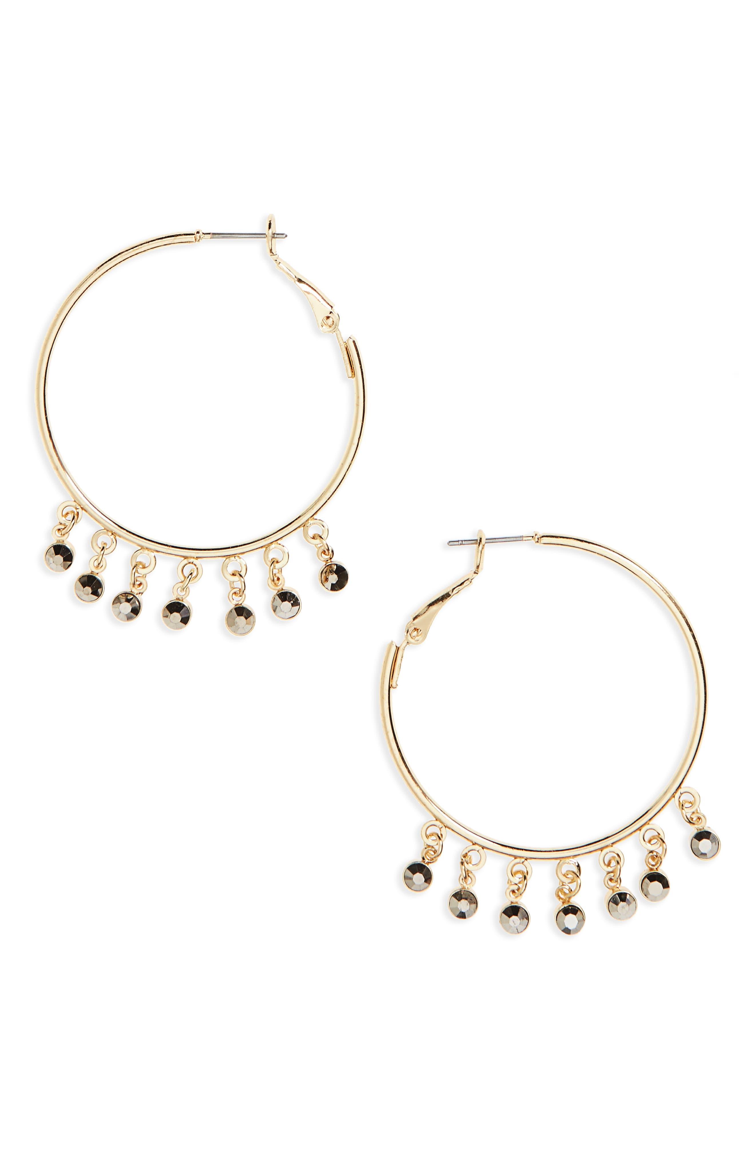 Drop Hoop Earrings,                         Main,                         color, Gold Multi
