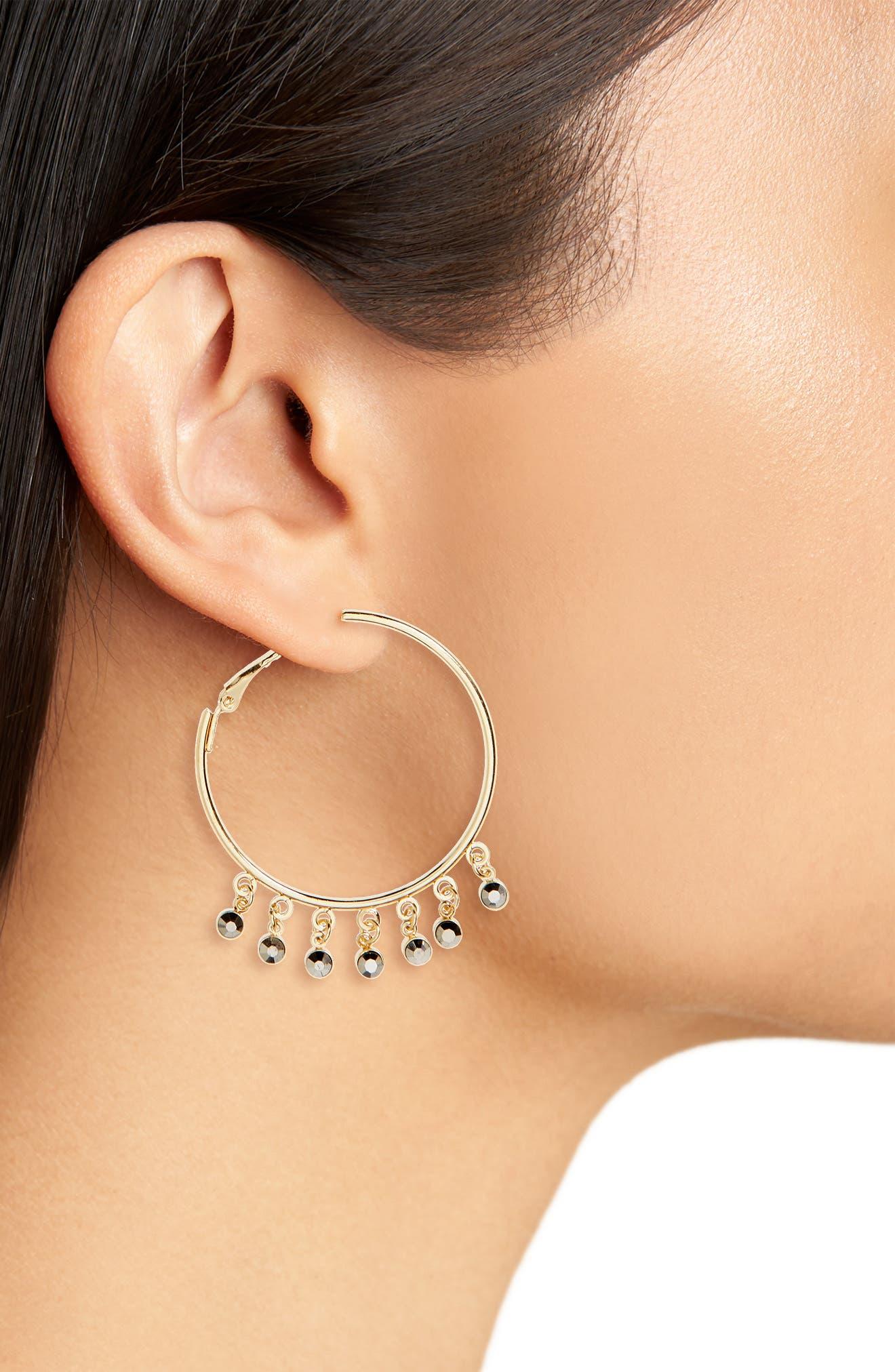 Drop Hoop Earrings,                             Alternate thumbnail 2, color,                             Gold Multi