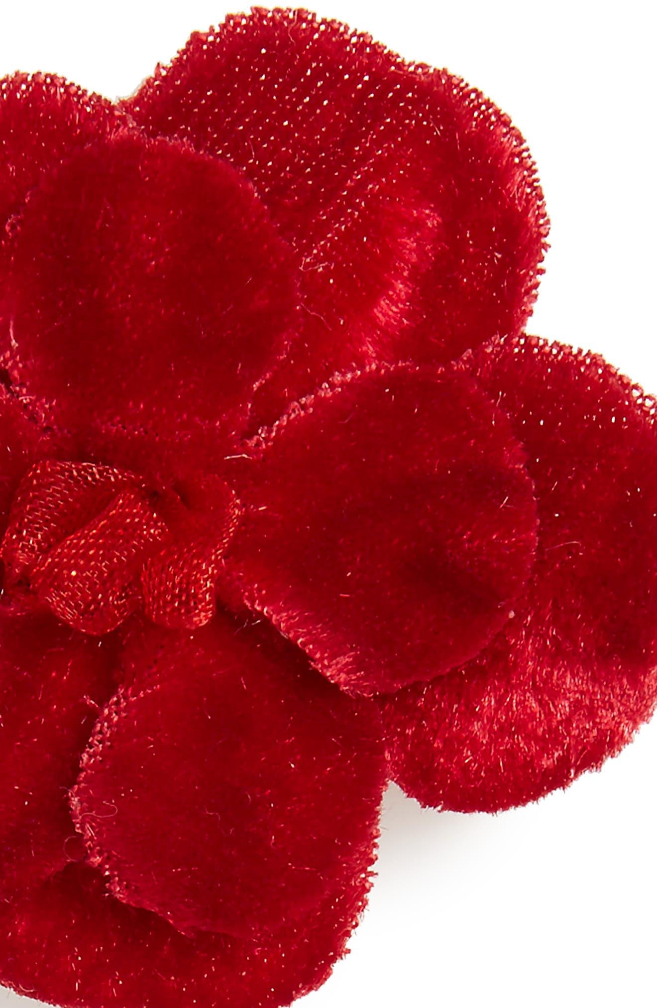 2-Pack Velvet Flower Clips,                             Alternate thumbnail 3, color,                             Red