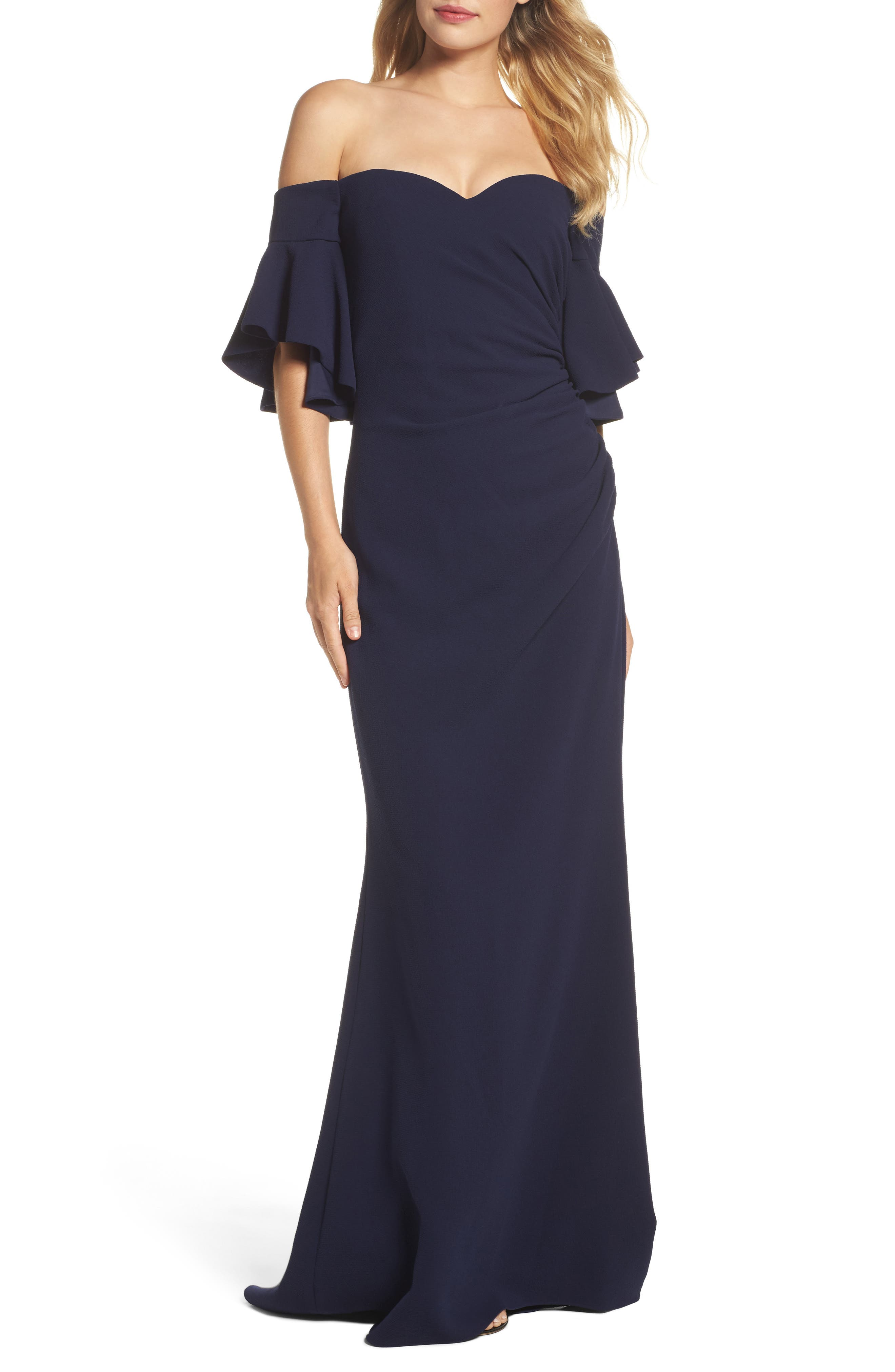 Pebble Crepe Off the Shoulder Gown,                         Main,                         color, Navy