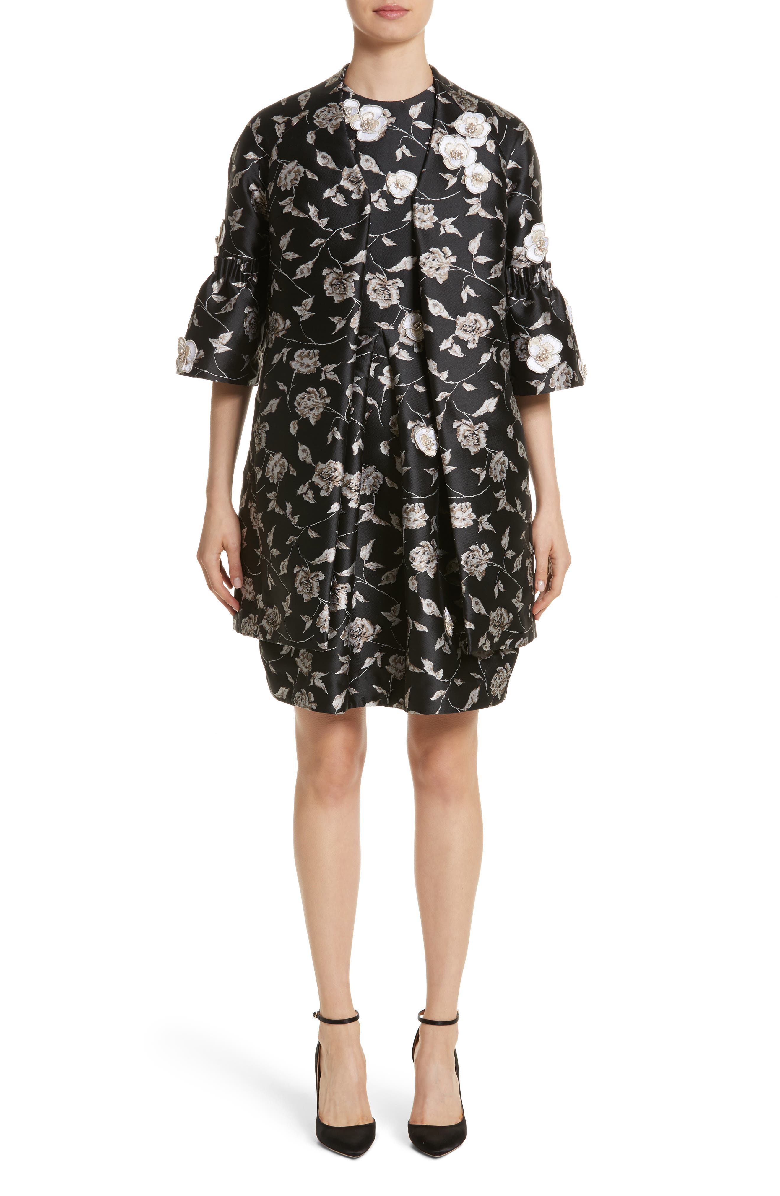 Carmen Marc Valvo Embellished Appliqué Floral Jacquard Cocktail Dress,                             Alternate thumbnail 7, color,                             Black