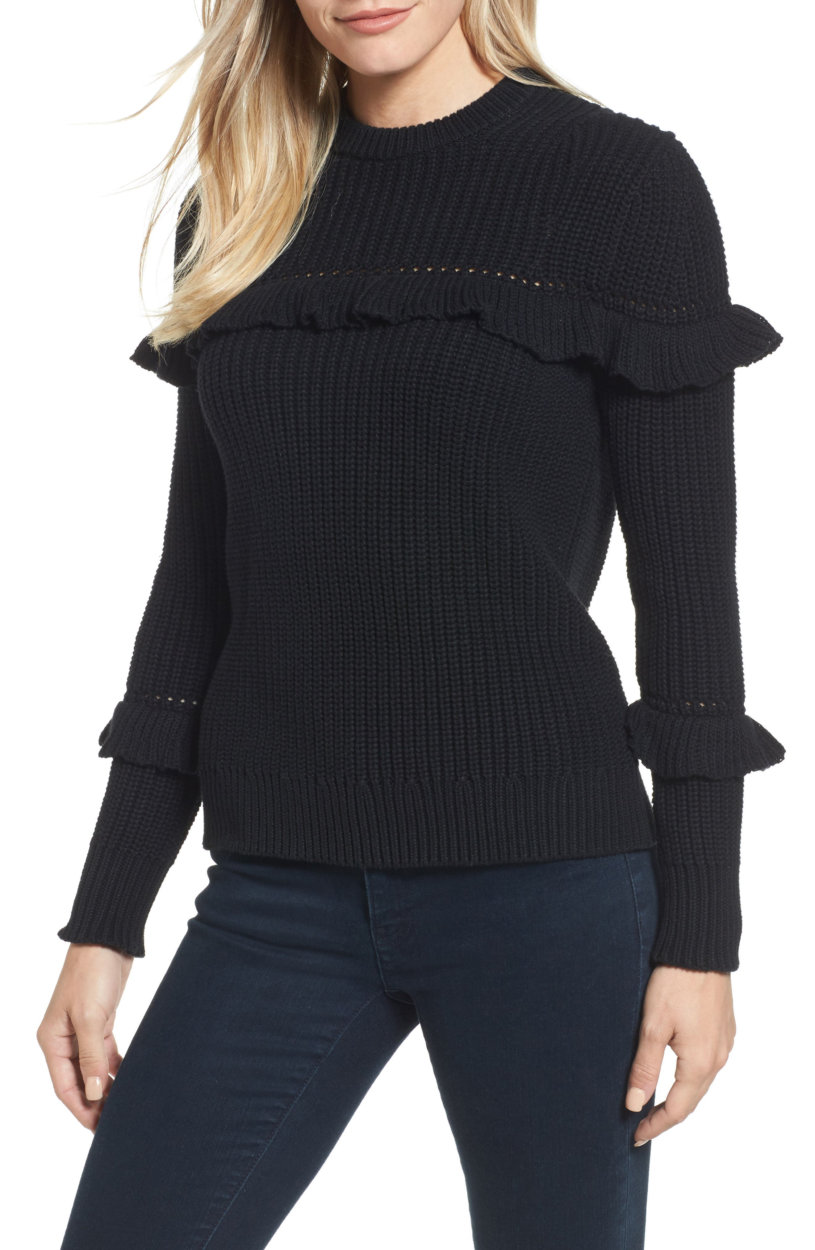 MICHAEL Michael Kors Ribbed Ruffle Sweater