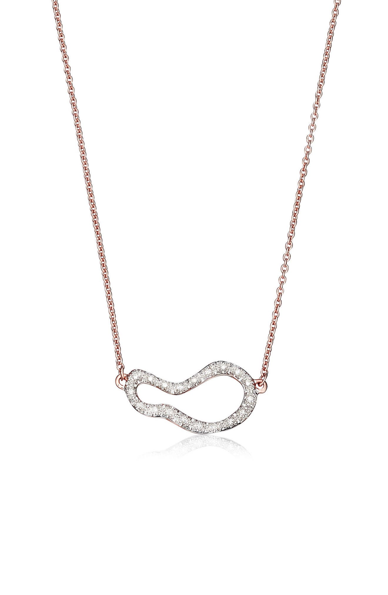 Riva Small Diamond Pendant Necklace,                             Main thumbnail 1, color,                             Rose Gold