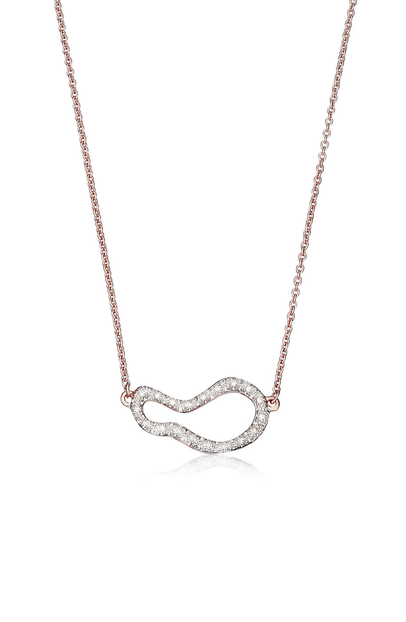 Monica Vinader Riva Small Diamond Pendant Necklace