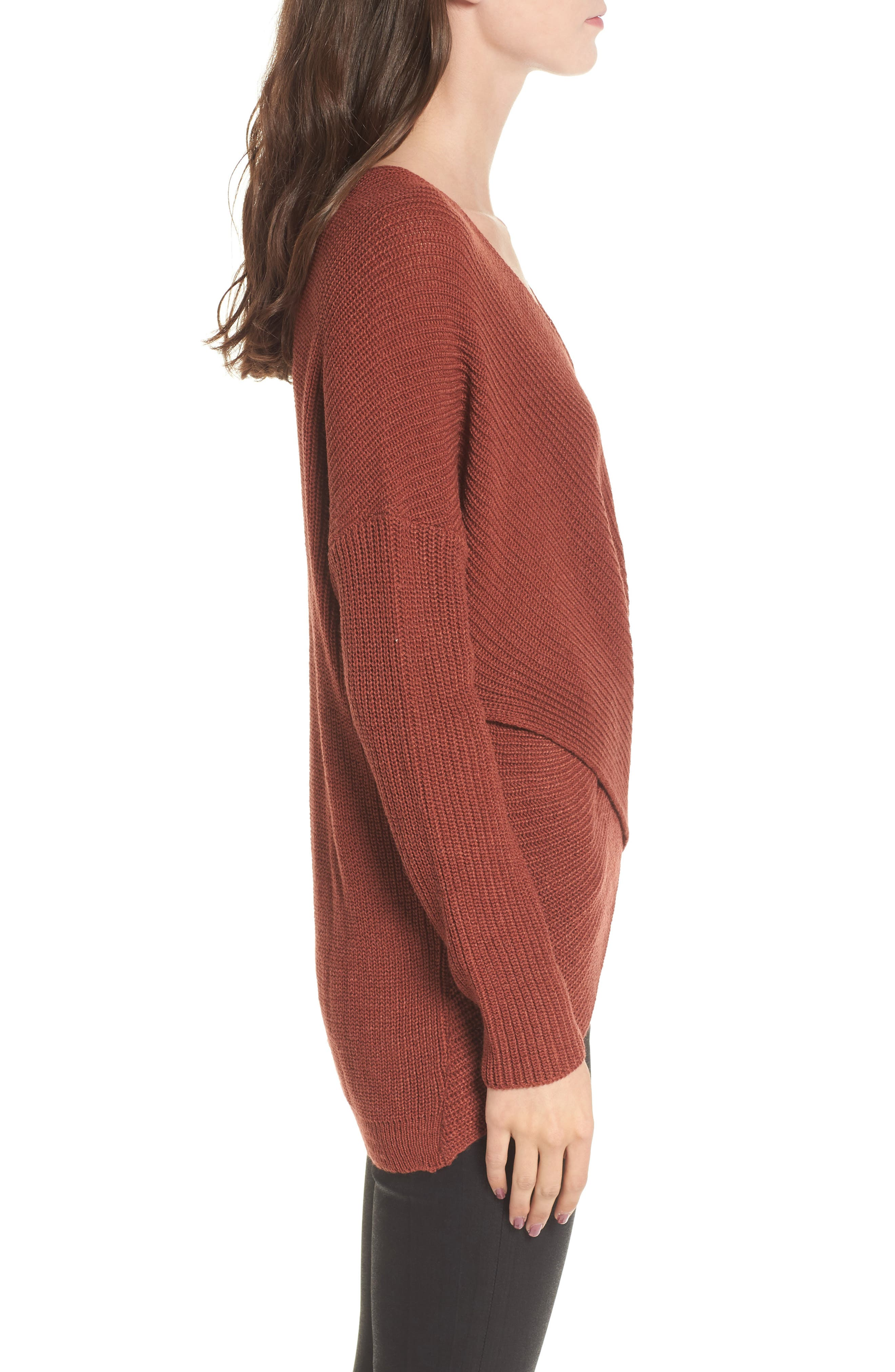 Wrap Front Sweater,                             Alternate thumbnail 3, color,                             Brown Spice