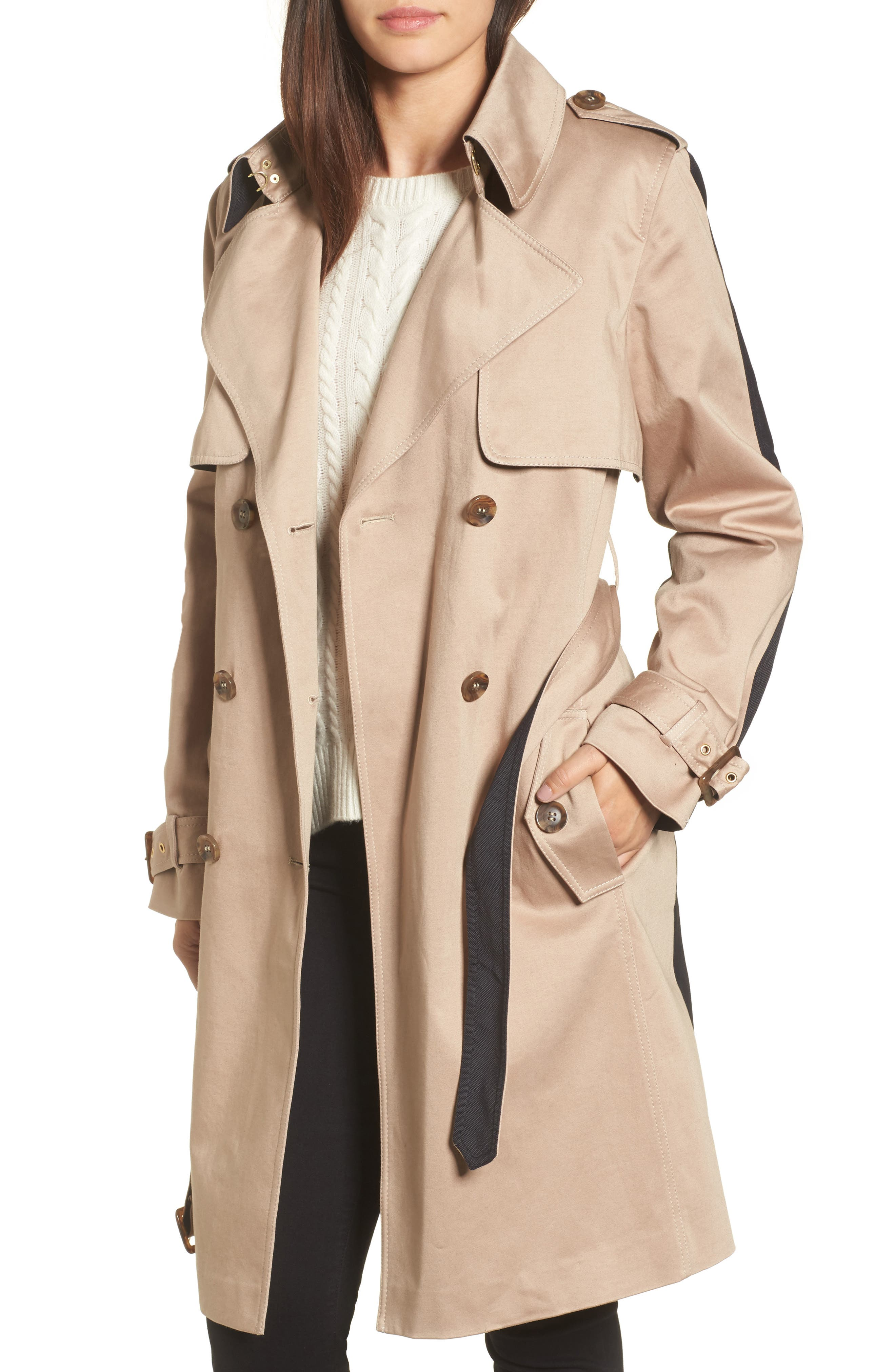 Alternate Image 1 Selected - Trina Turk Allison Two-Tone Trench Coat