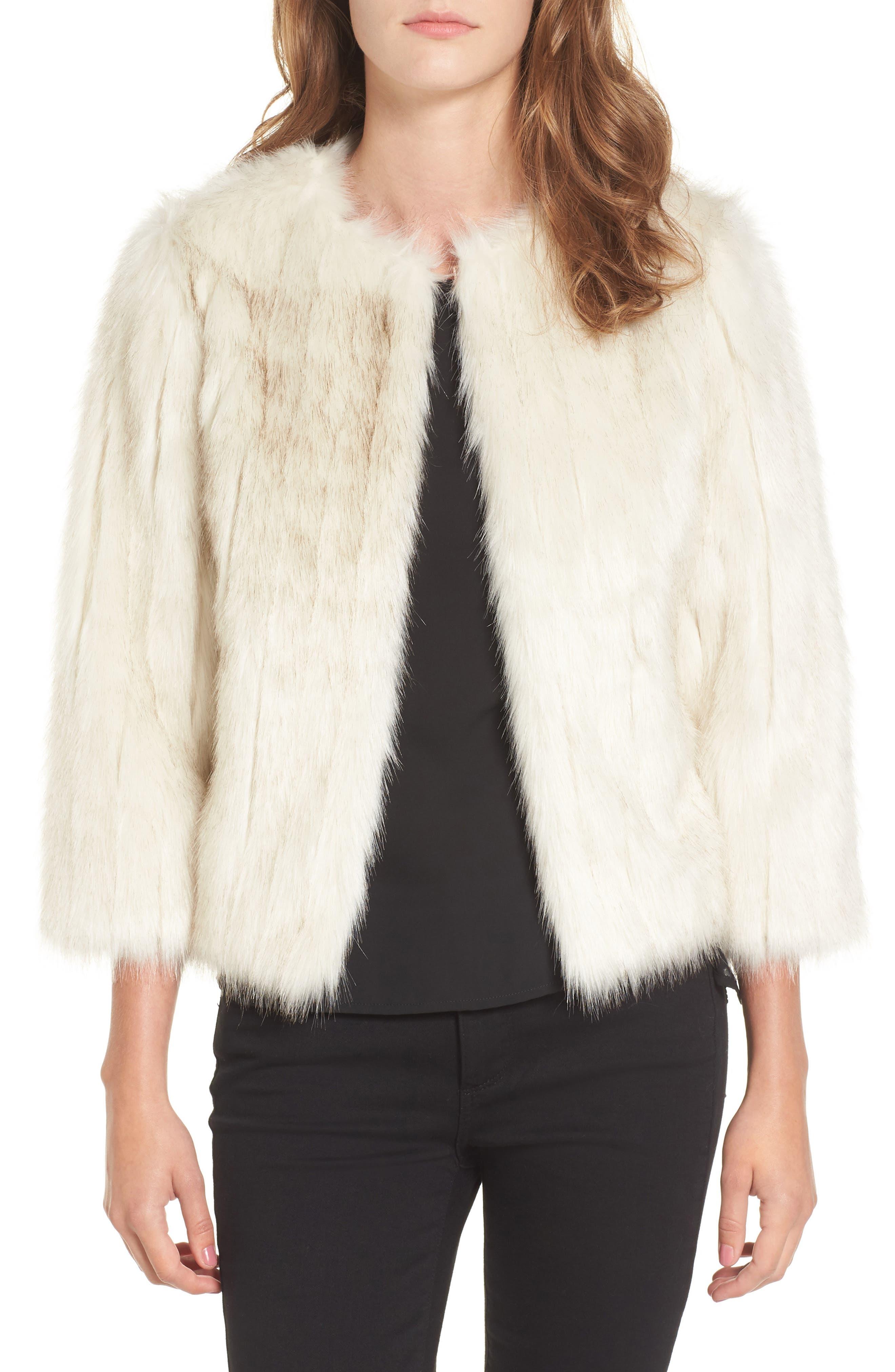 Winter Faux Fur Jacket,                         Main,                         color, Ivory