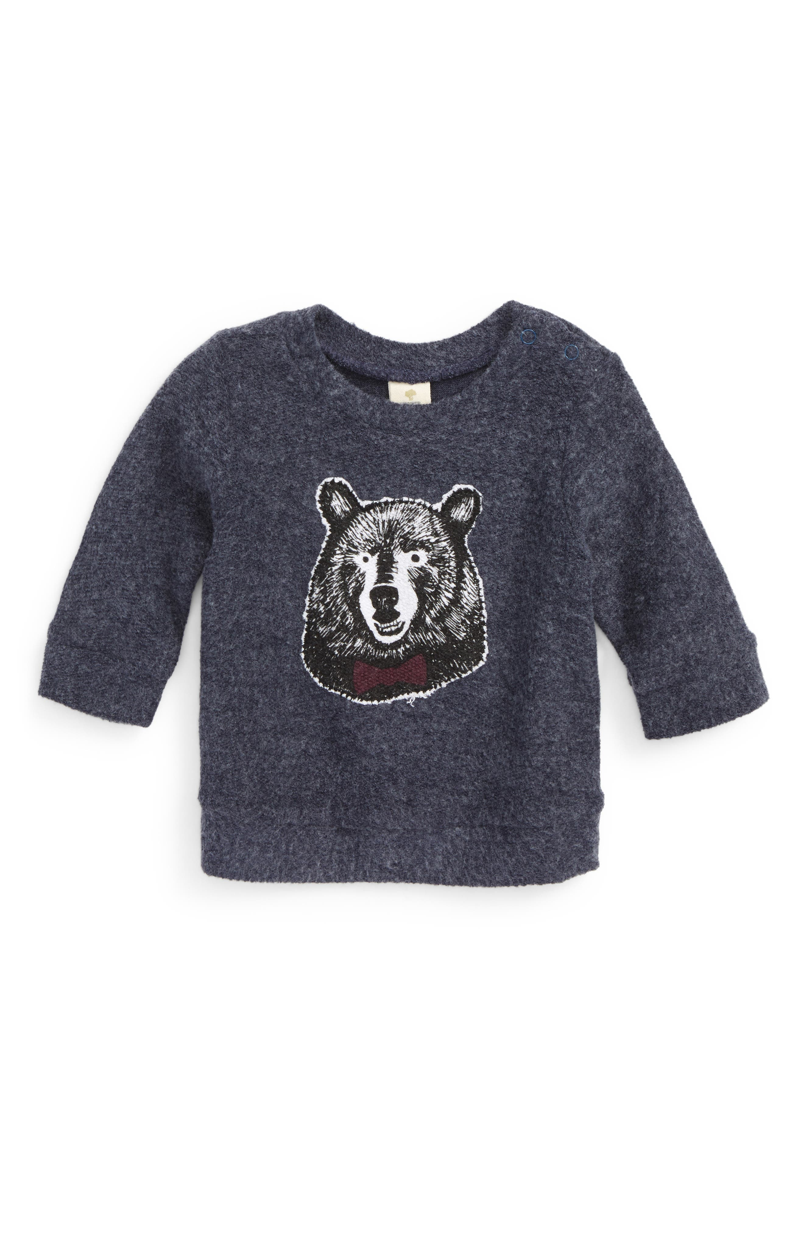 Appliqué Fleece Top,                             Main thumbnail 1, color,                             Navy Denim Bear