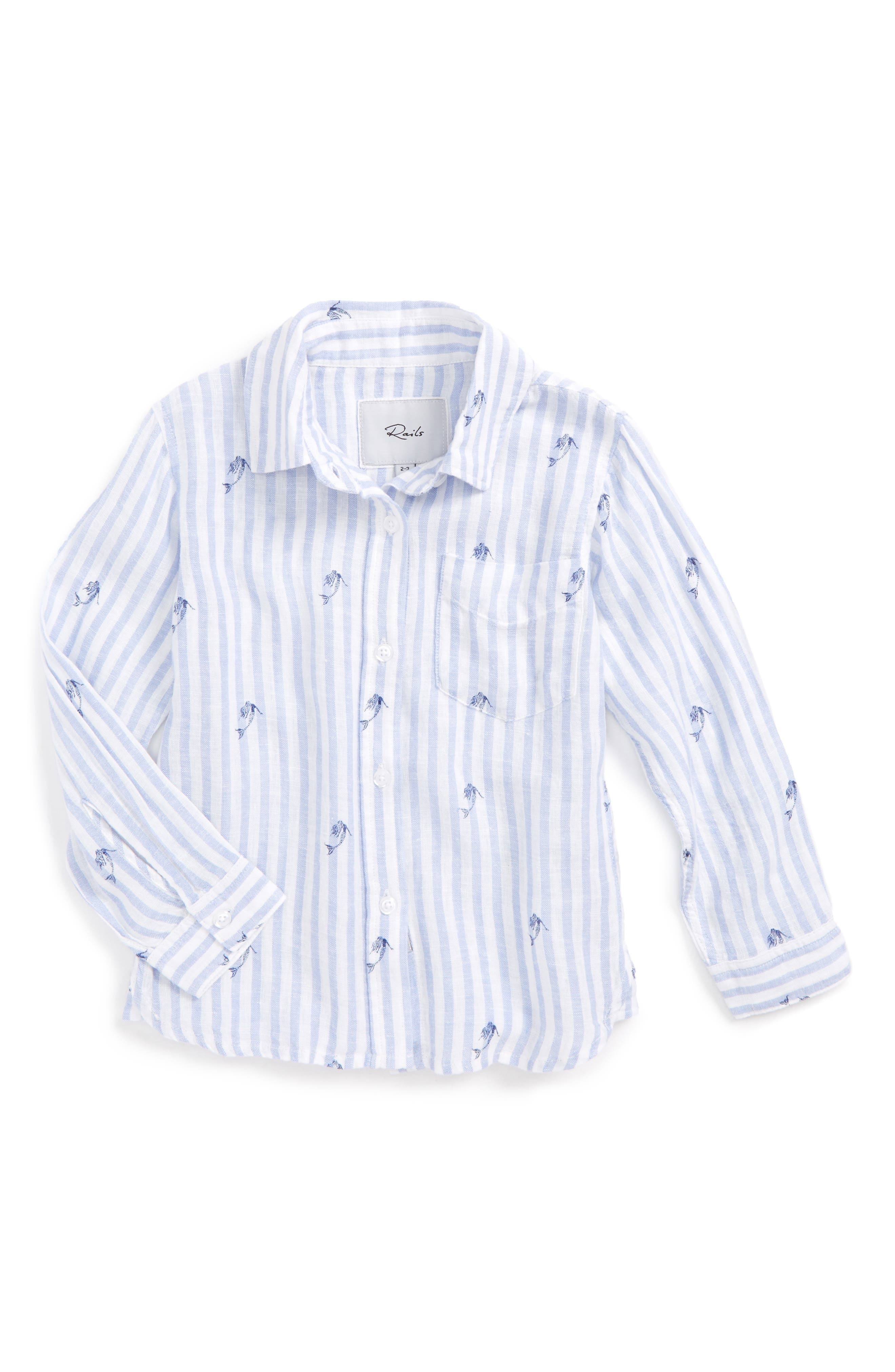 Main Image - Rails Cora Mermaid Stripe Button Front Shirt (Toddler Girls, Little Girls & Big Girls)
