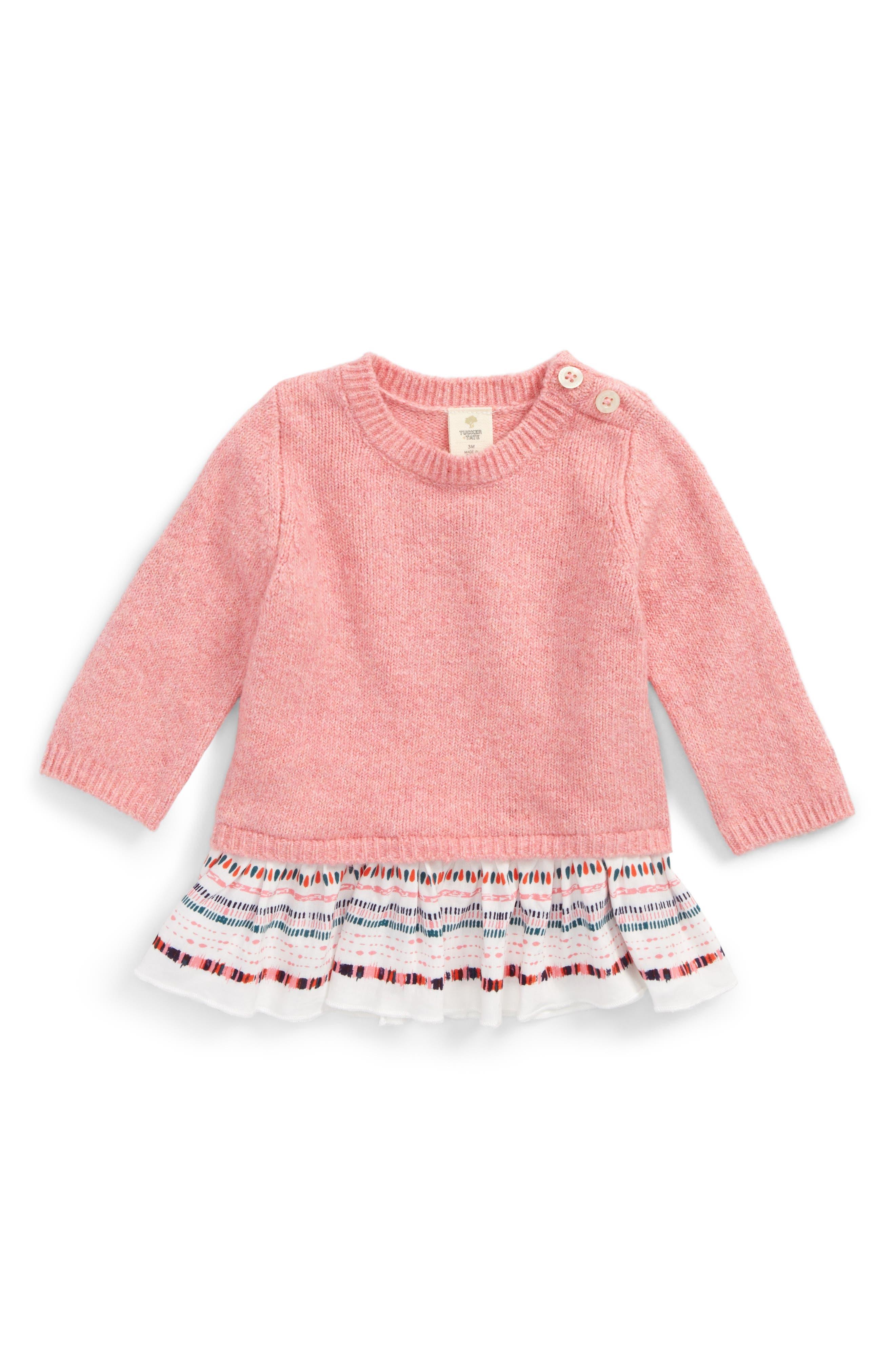 Ruffle Sweater,                             Main thumbnail 1, color,                             Pink Lemonade Heather Geo