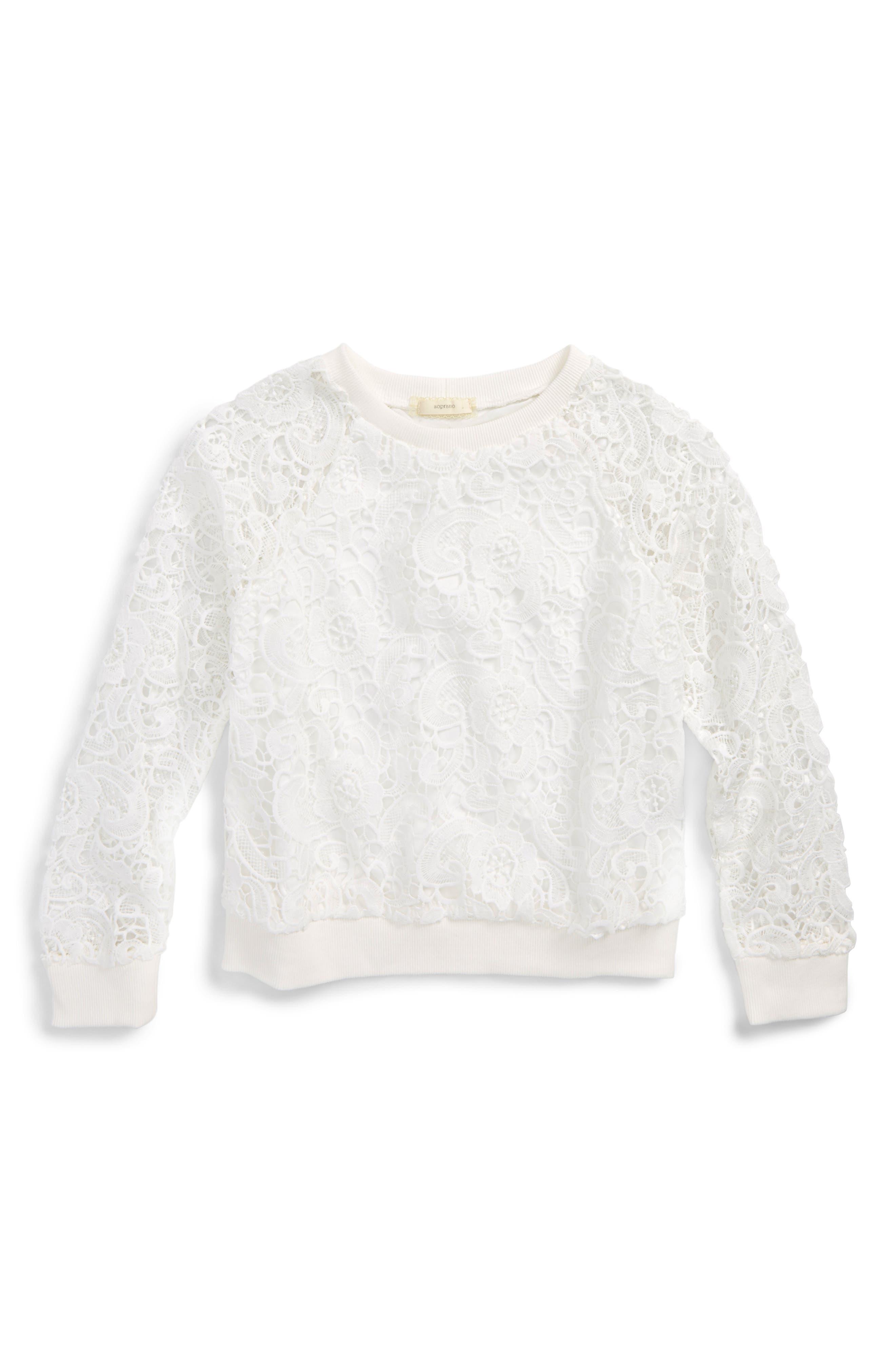 Soprano Lace Overlay Sweatshirt (Big Girls)