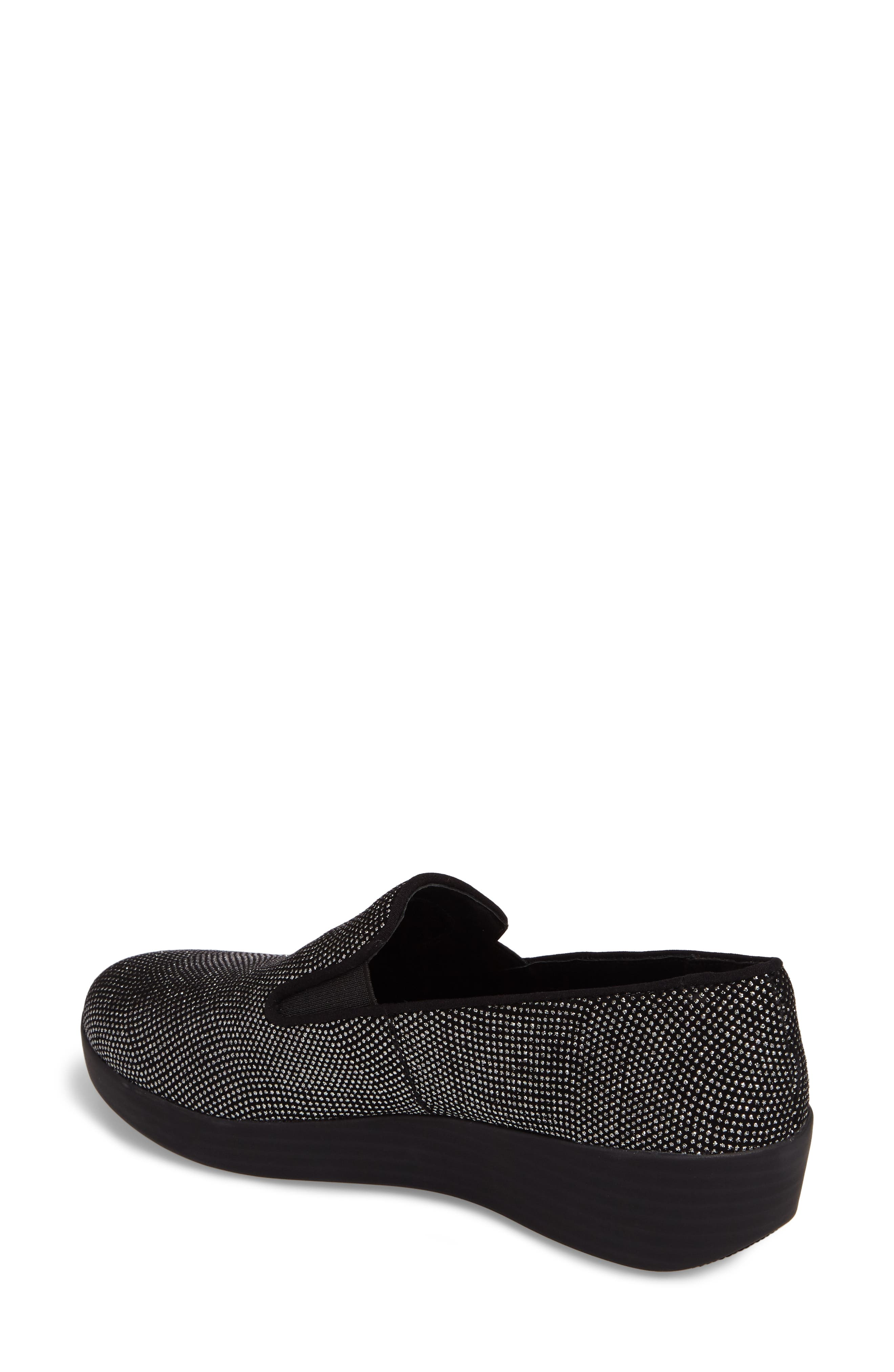 Superskate Glitter Dot Slip-On Sneaker,                             Alternate thumbnail 2, color,                             Black Glimmer Suede