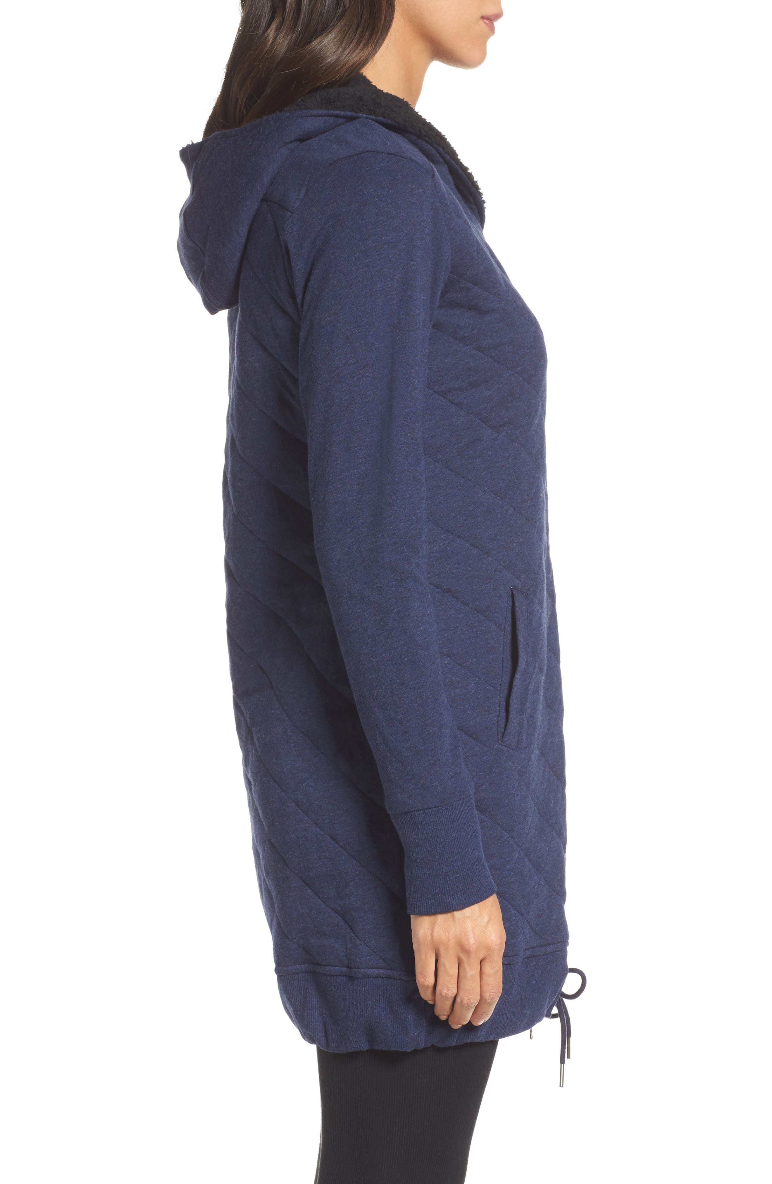 'Kayla' Quilted Hoodie,                             Alternate thumbnail 3, color,                             Navy Heather