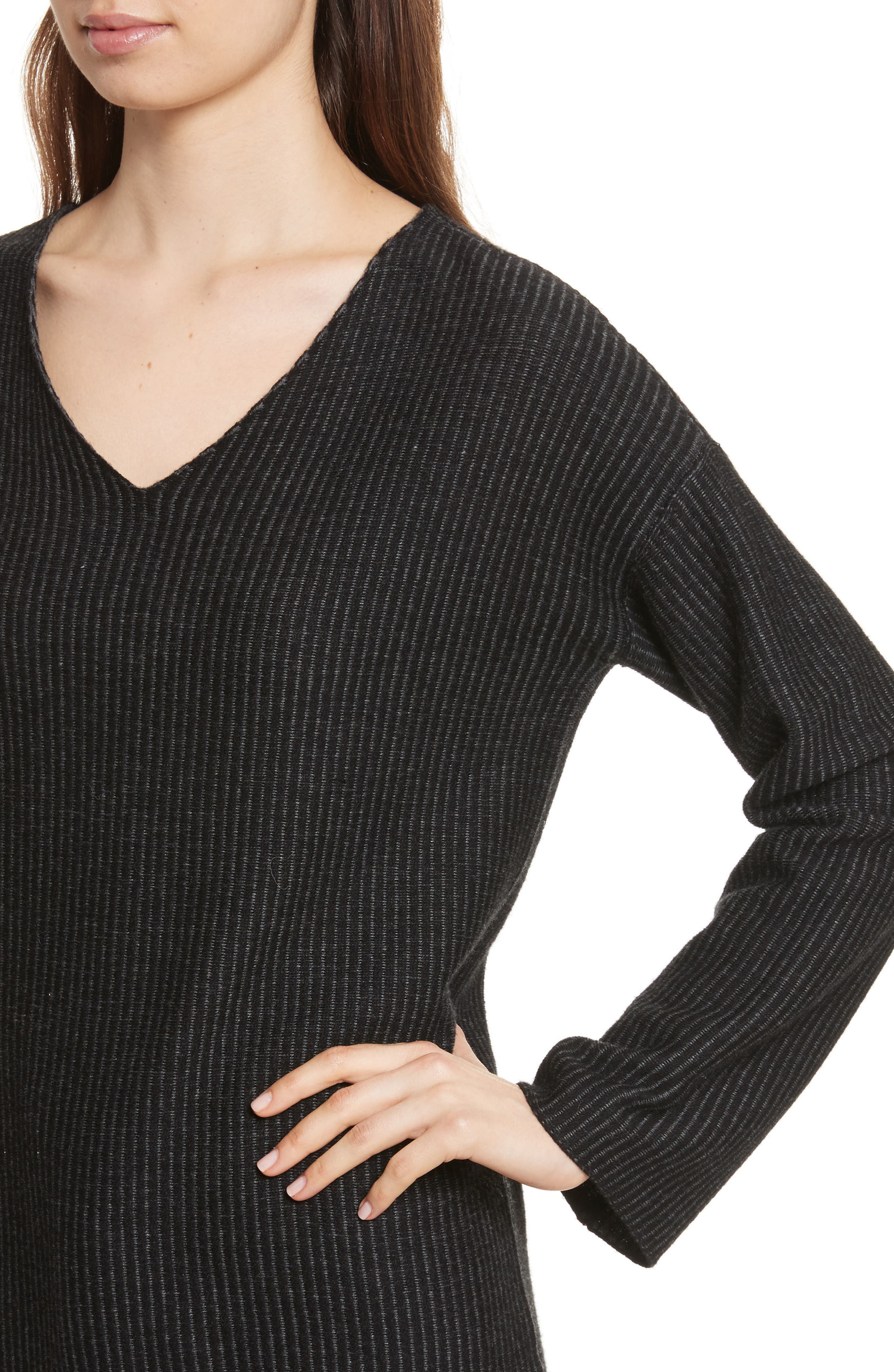 Cotton Blend Sweater,                             Alternate thumbnail 4, color,                             Foggy/ Chalk