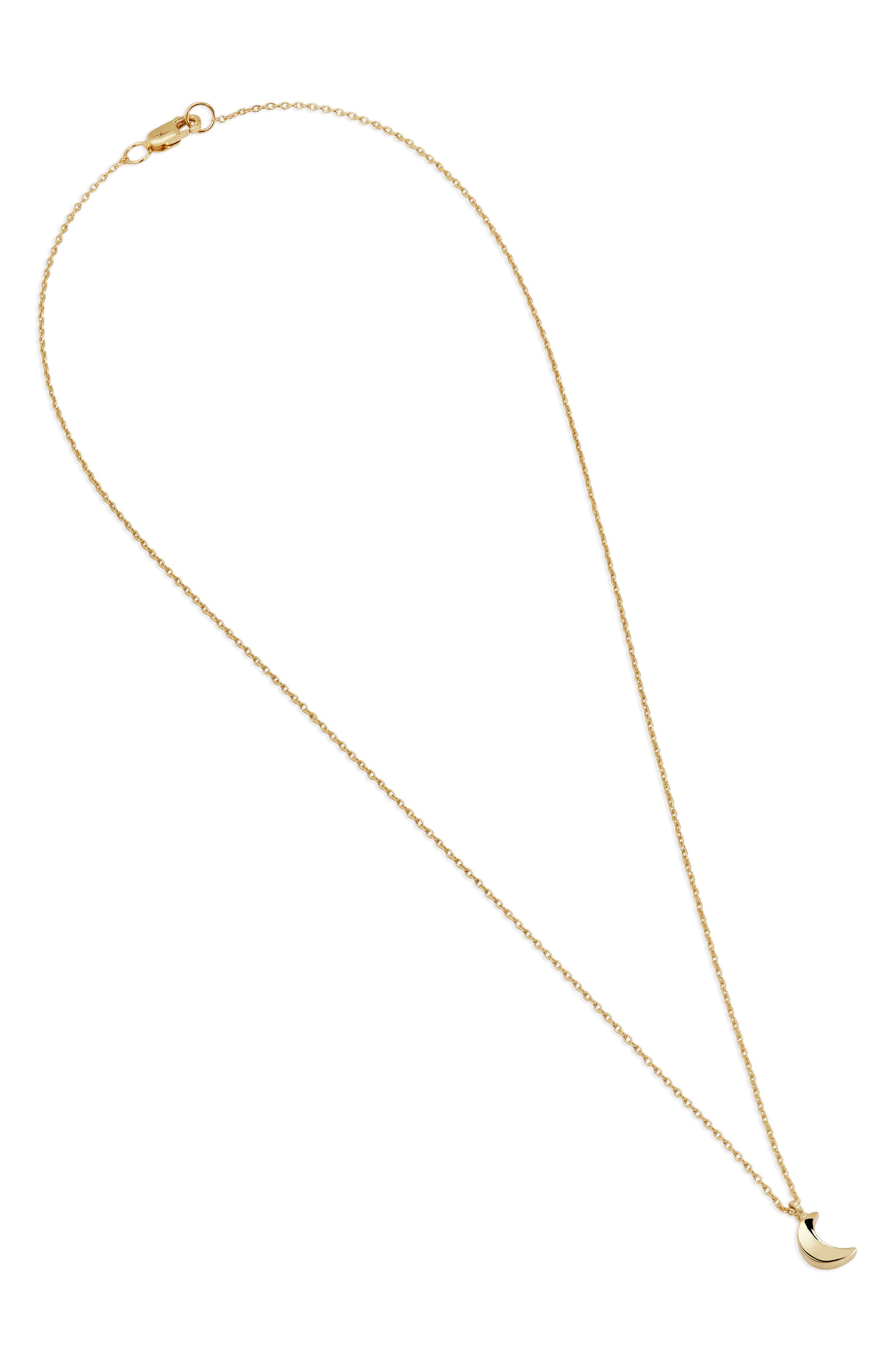 Crescent Moon Charm Necklace,                             Alternate thumbnail 3, color,                             14K Gold