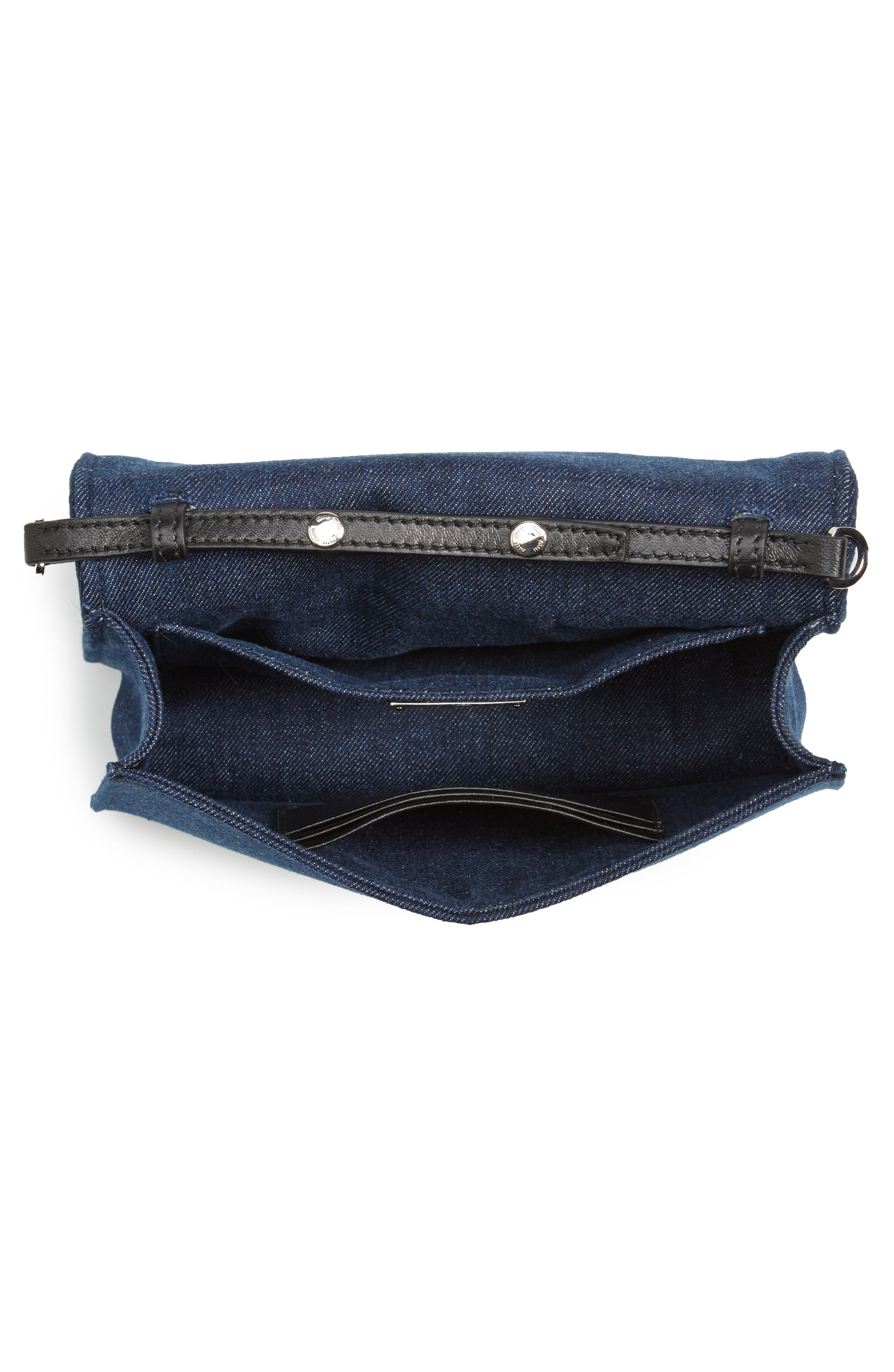 Matelassé Denim Crossbody Clutch,                             Alternate thumbnail 3, color,                             Bleu