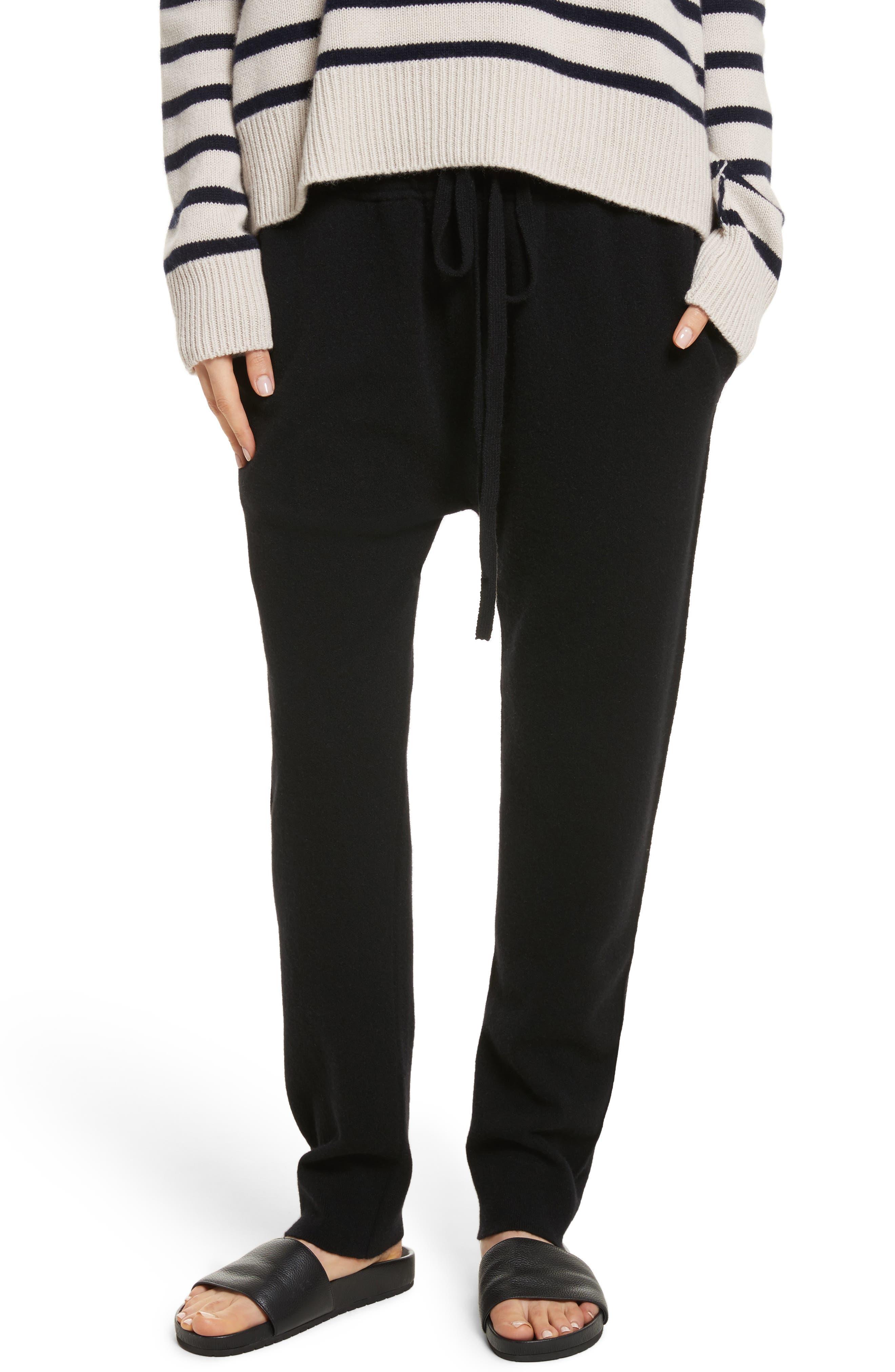 Wool & Cashmere Blend Jogger Pants,                             Main thumbnail 1, color,                             Black