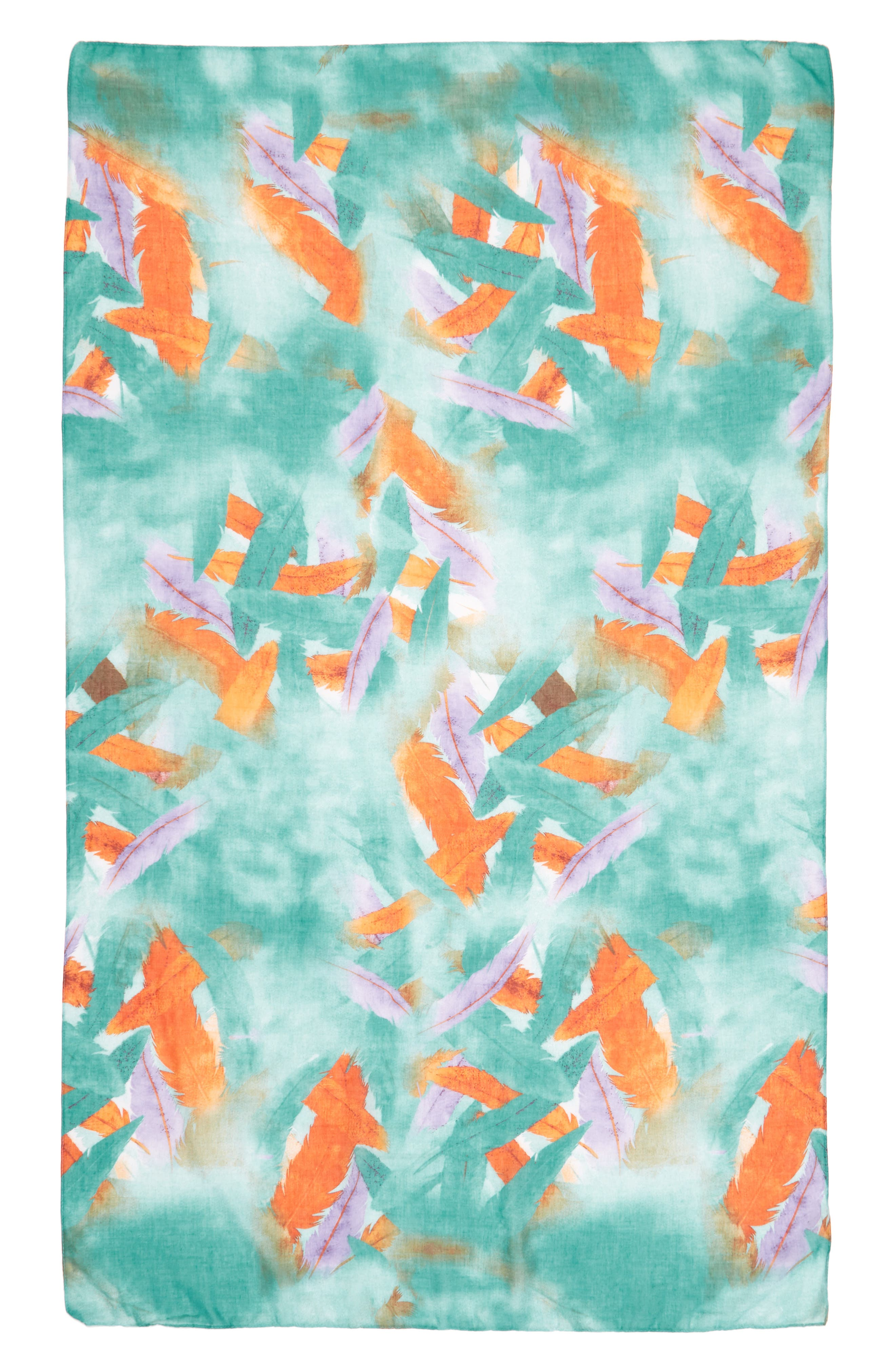 Accessory Collective Abstract Feather Print Scarf,                             Alternate thumbnail 2, color,                             Blue Multi